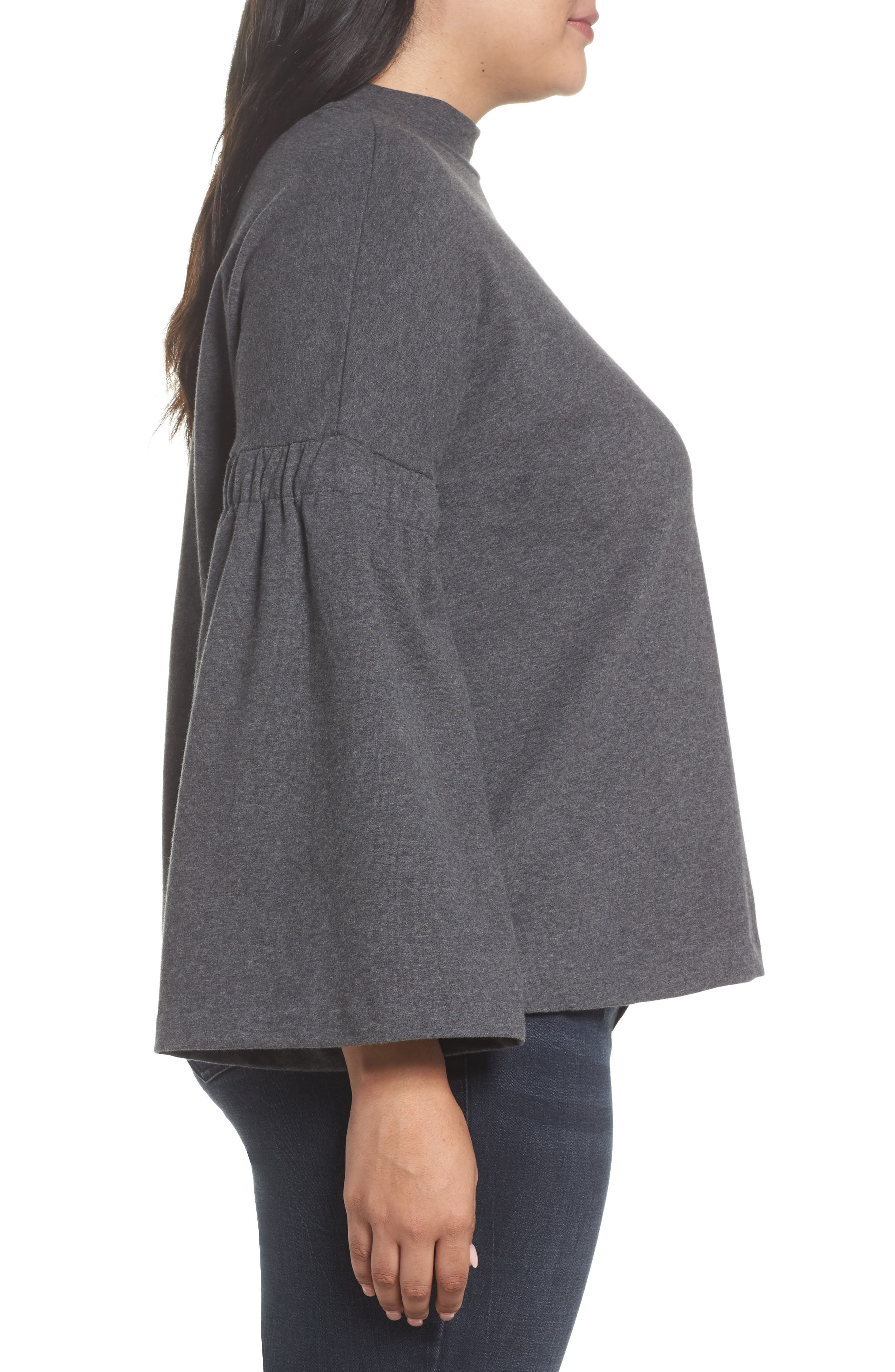 Bell Sleeve Top,                             Alternate thumbnail 3, color,                             MED HEATHER GREY
