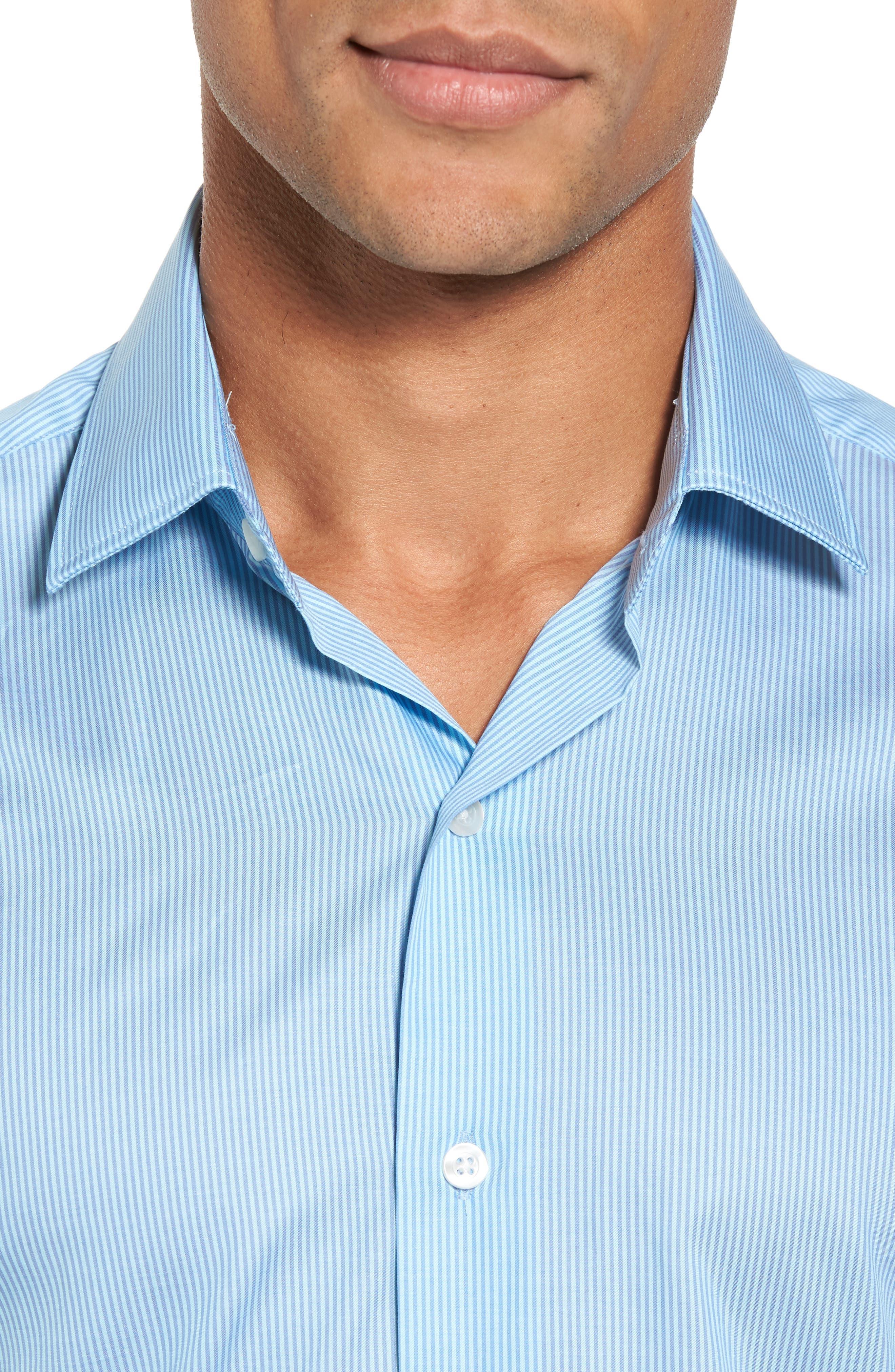 Slim Fit Stripe Twill Sport Shirt,                             Alternate thumbnail 4, color,