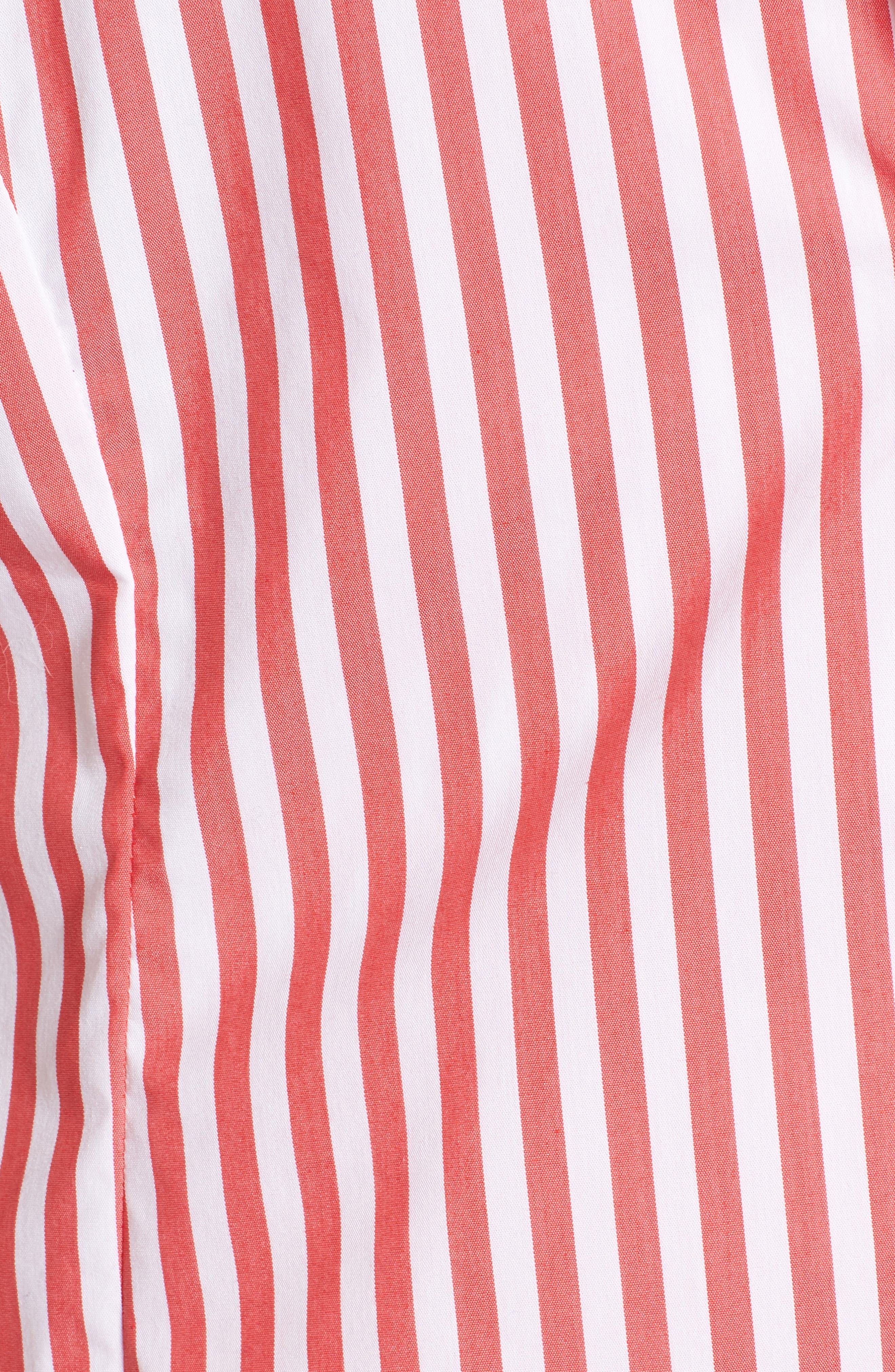 Asymmetrical Stripe Blouse,                             Alternate thumbnail 6, color,                             RED/ WHITE STRIPE