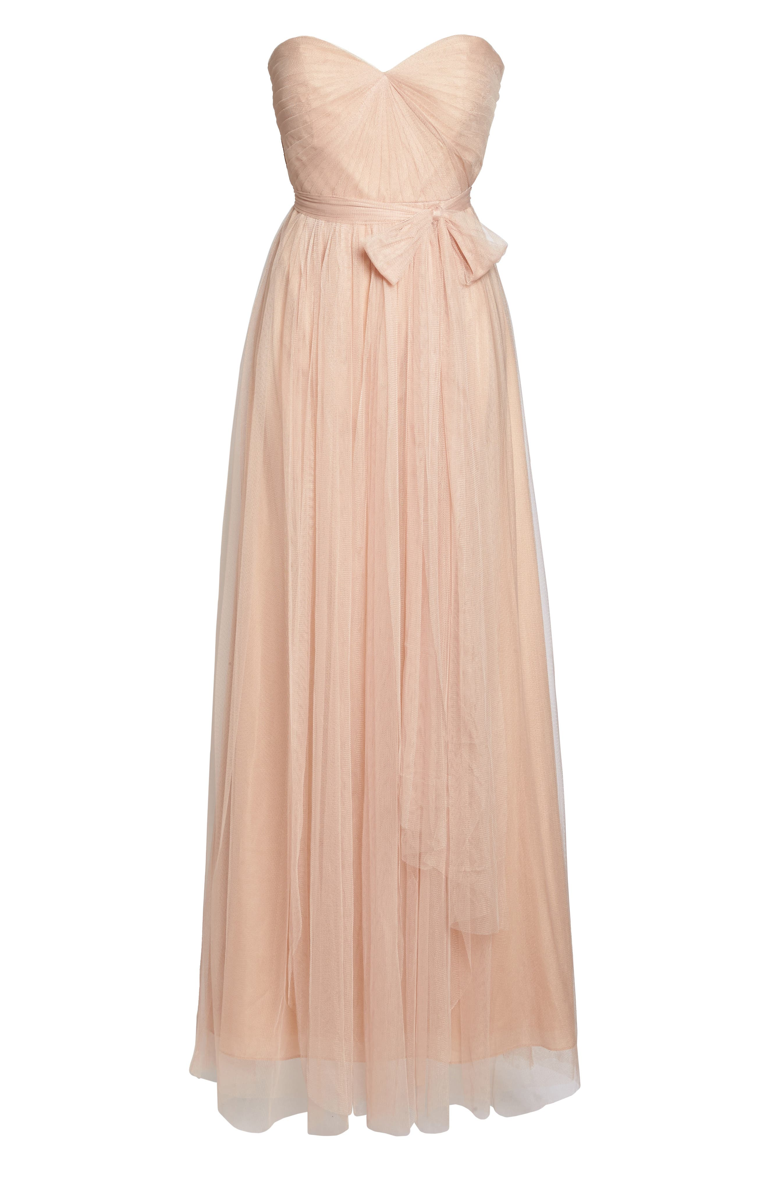 Annabelle Convertible Tulle Column Dress,                             Alternate thumbnail 7, color,                             CAMEO PINK