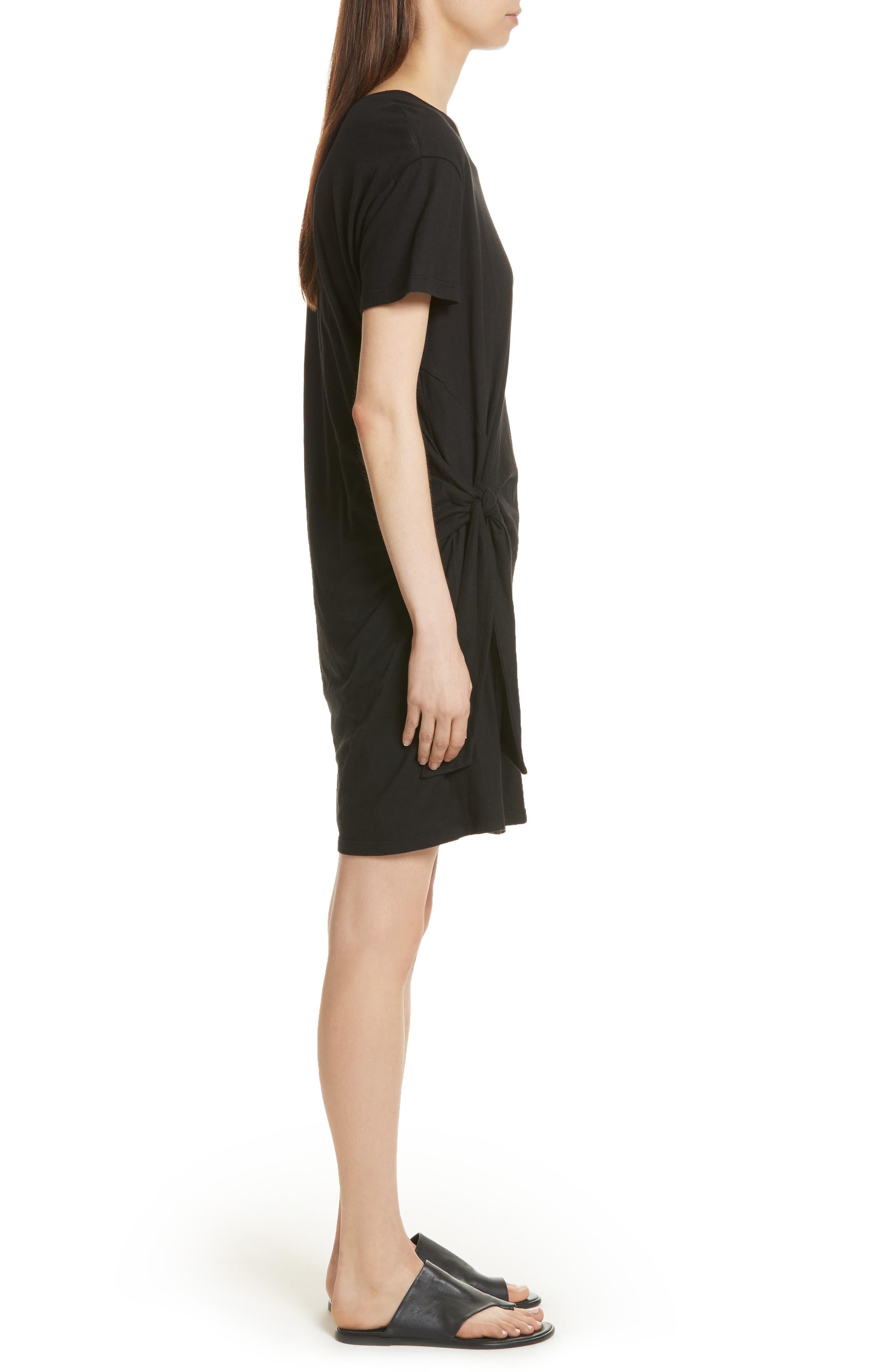 Side Tie Cotton Dress,                             Alternate thumbnail 3, color,                             001