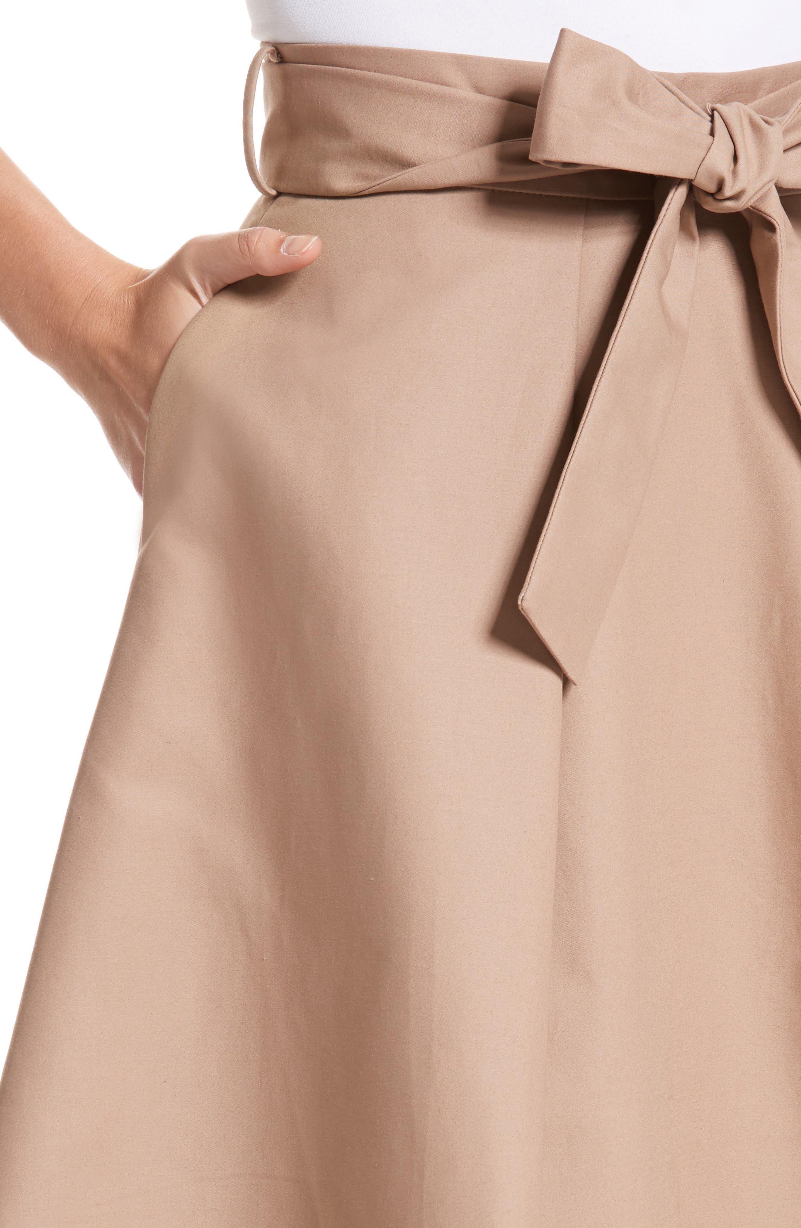 Belted Cotton Skirt,                             Alternate thumbnail 4, color,                             240