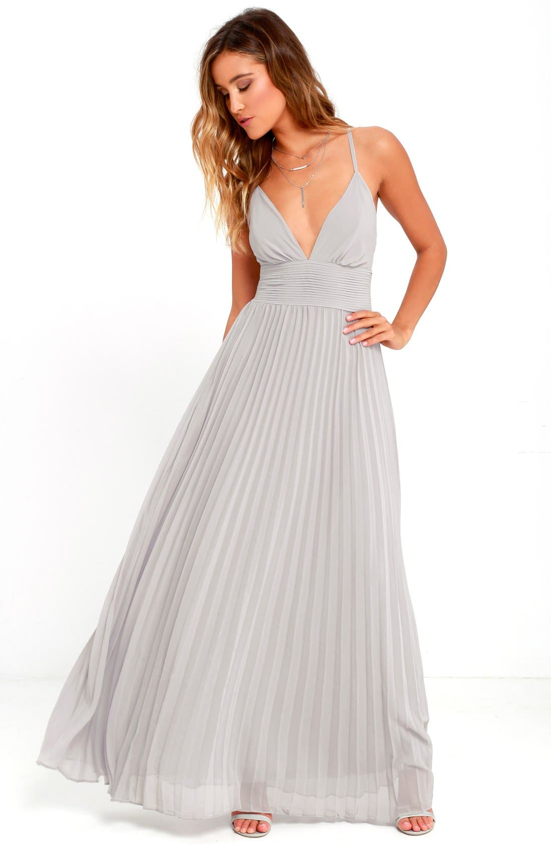 Plunging V-Neck Pleat Georgette Gown,                             Alternate thumbnail 12, color,