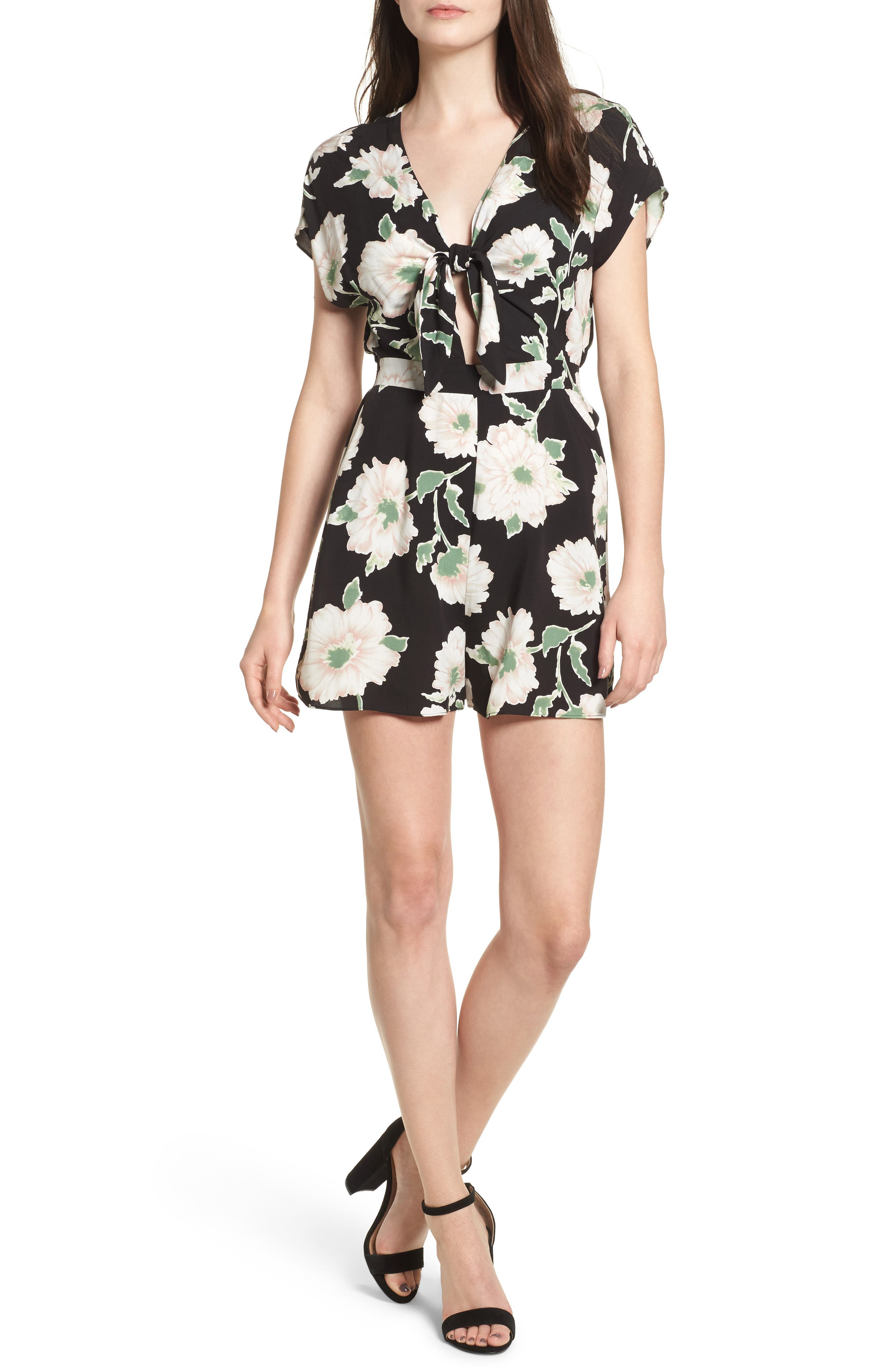 Knotted Romper,                         Main,                         color,
