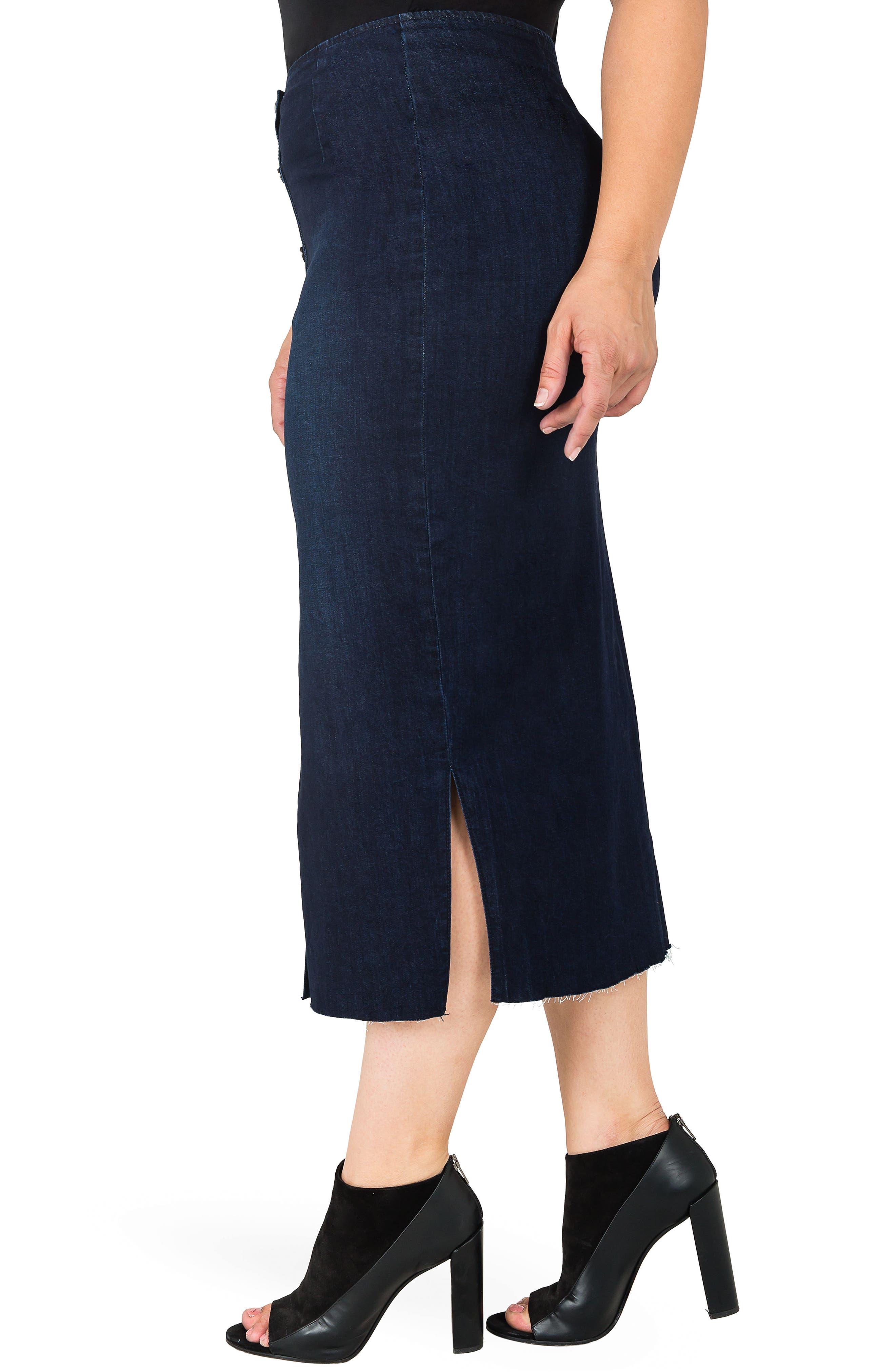 Elain Denim Pencil Skirt,                             Alternate thumbnail 3, color,                             BLUE