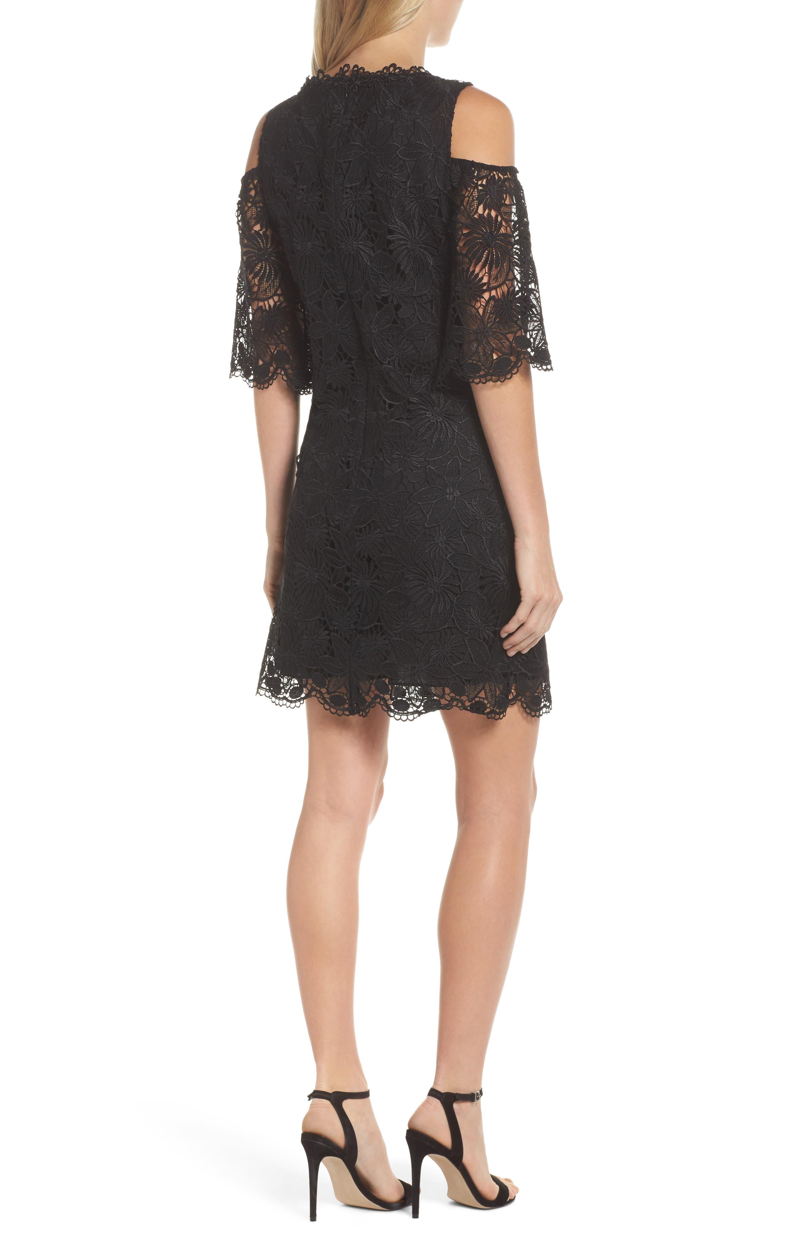 Edna Cold Shoulder Lace Dress,                             Alternate thumbnail 2, color,                             001