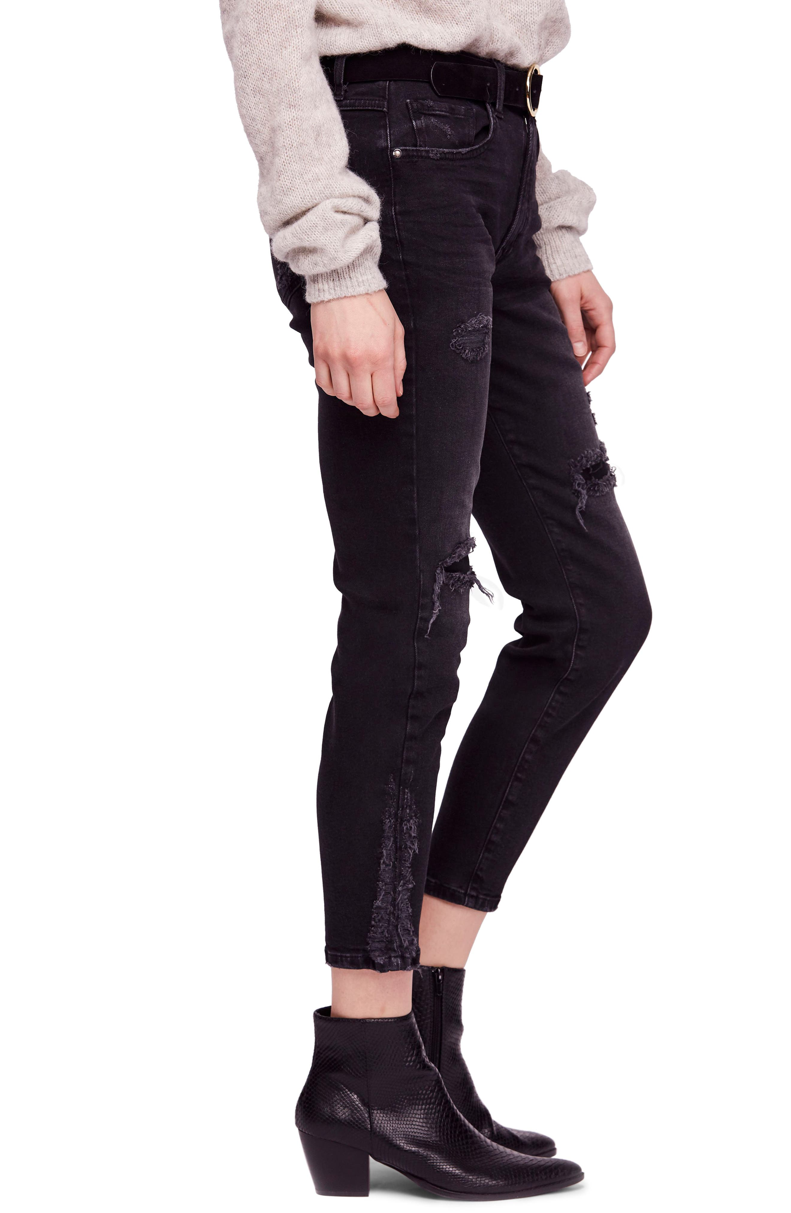 About a Girl Ripped High Waist Crop Skinny Jeans,                             Alternate thumbnail 3, color,                             BLACK
