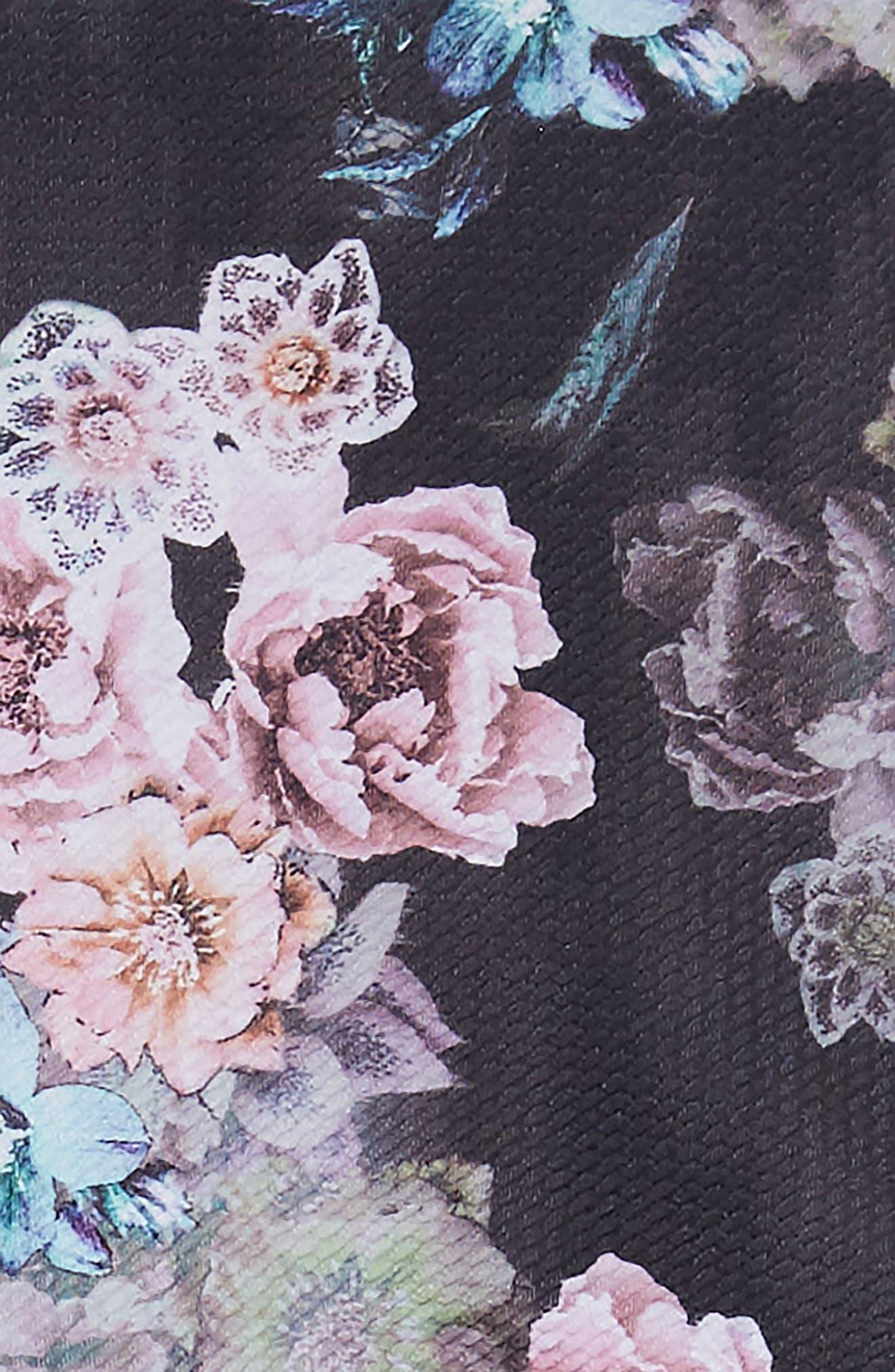 Gigi Floral Skater Dress,                             Alternate thumbnail 3, color,                             BLACK