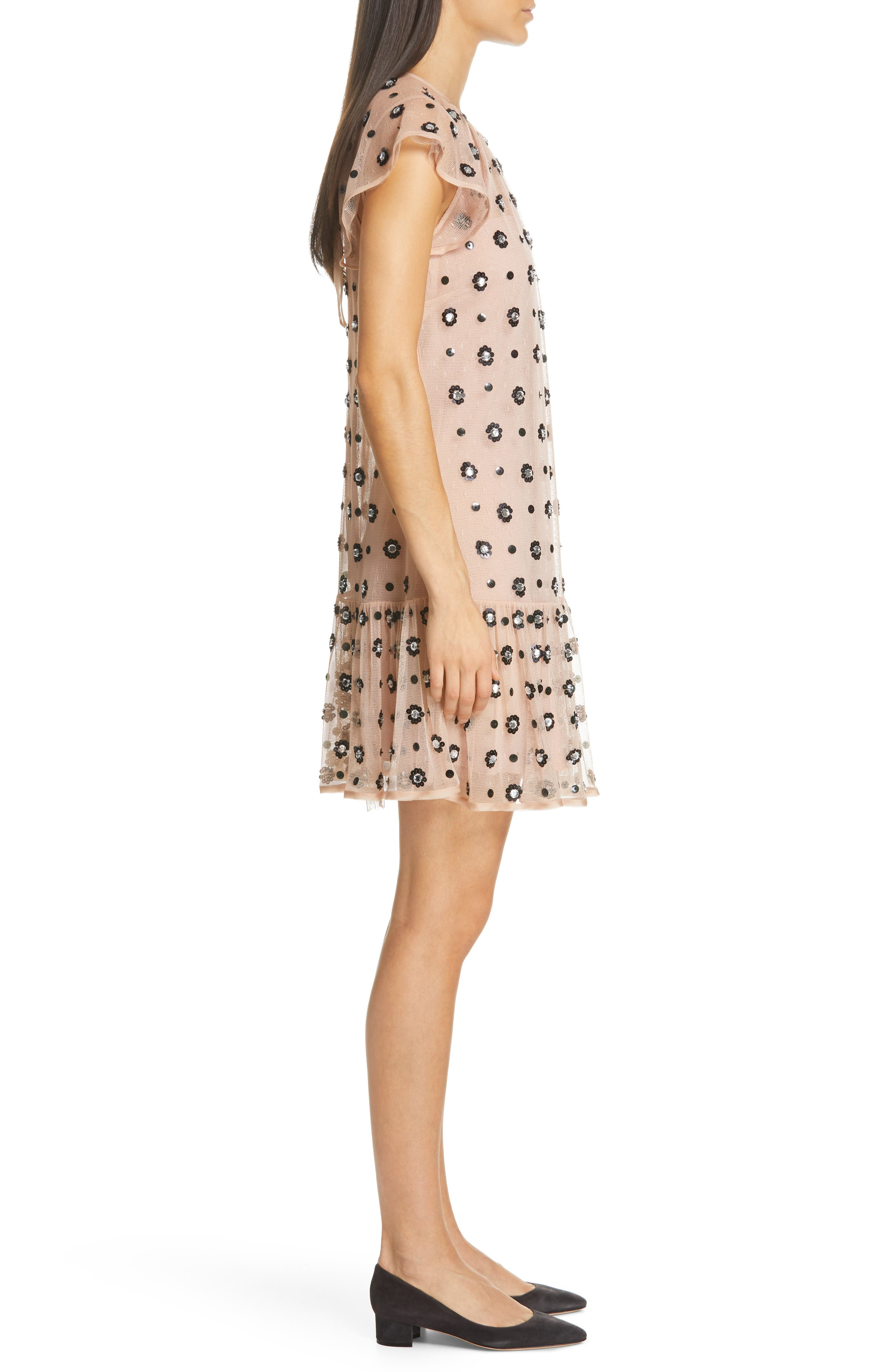 RED VALENTINO,                             Floral Sequin Drop Waist Dress,                             Alternate thumbnail 3, color,                             NUDO