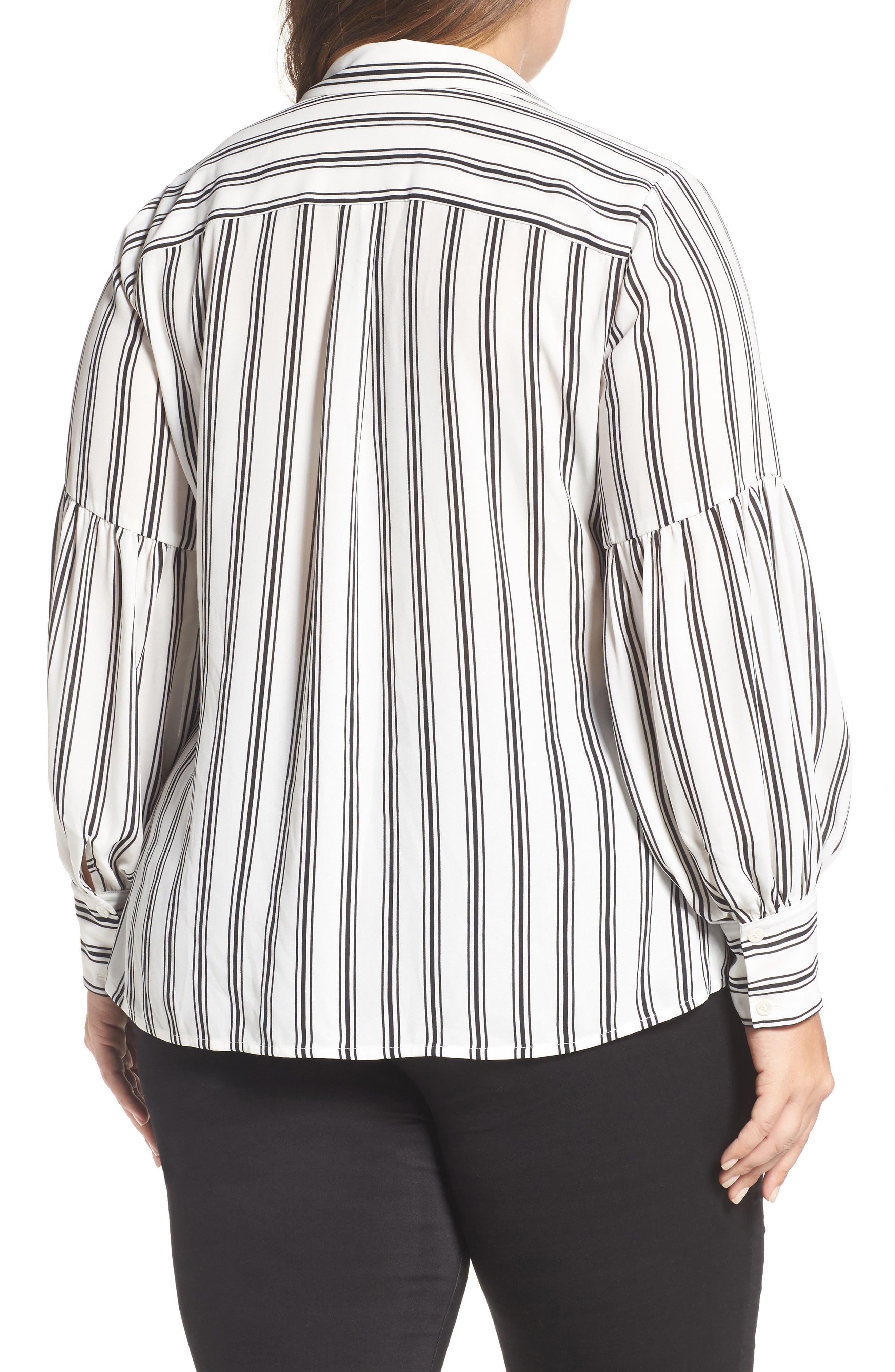 Stripe Puff Sleeve Blouse,                             Alternate thumbnail 2, color,                             901