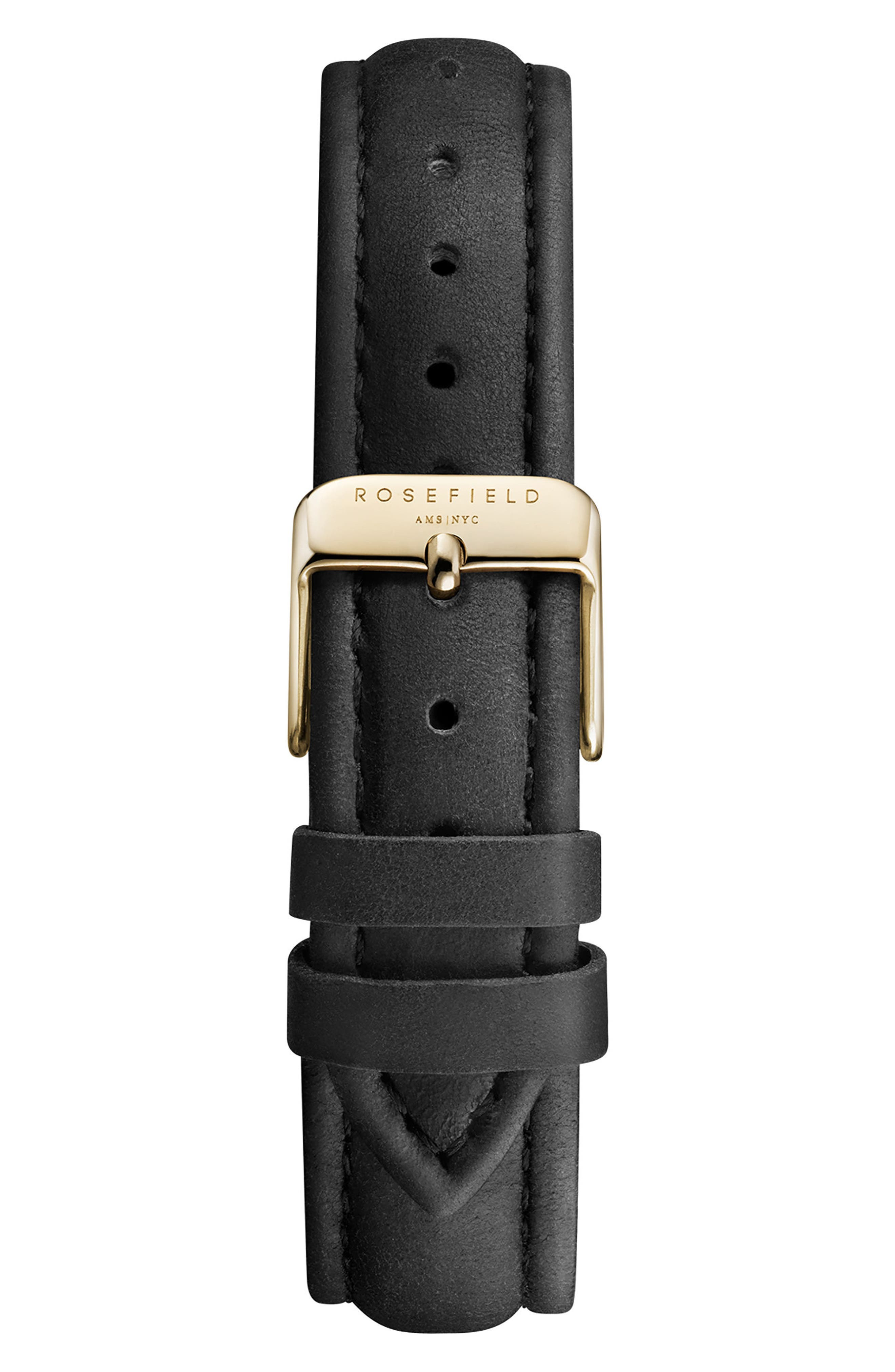 Tribeca Leather Strap Watch, 33mm,                             Alternate thumbnail 2, color,                             BLACK/ GOLD