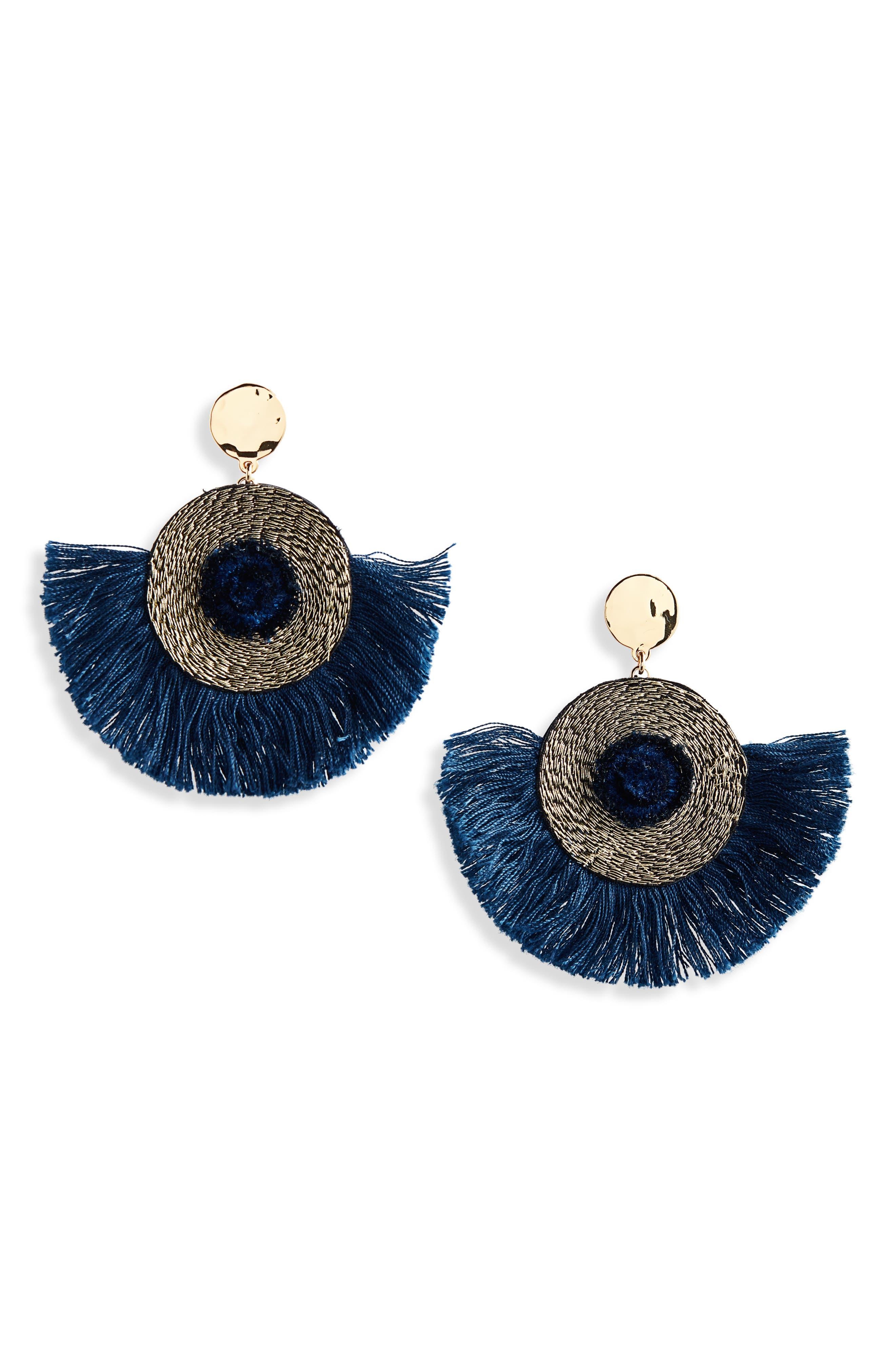 Fan Statement Earrings,                         Main,                         color, UNION BLUE