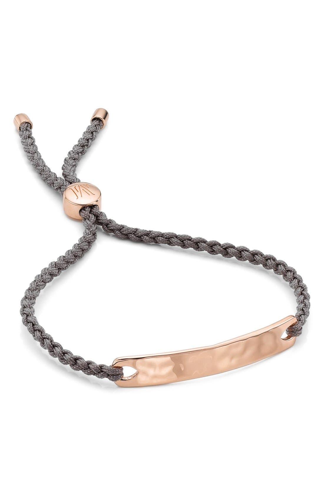 Engravable HavanaFriendship Bracelet,                             Main thumbnail 1, color,                             ROSE GOLD/ MINK