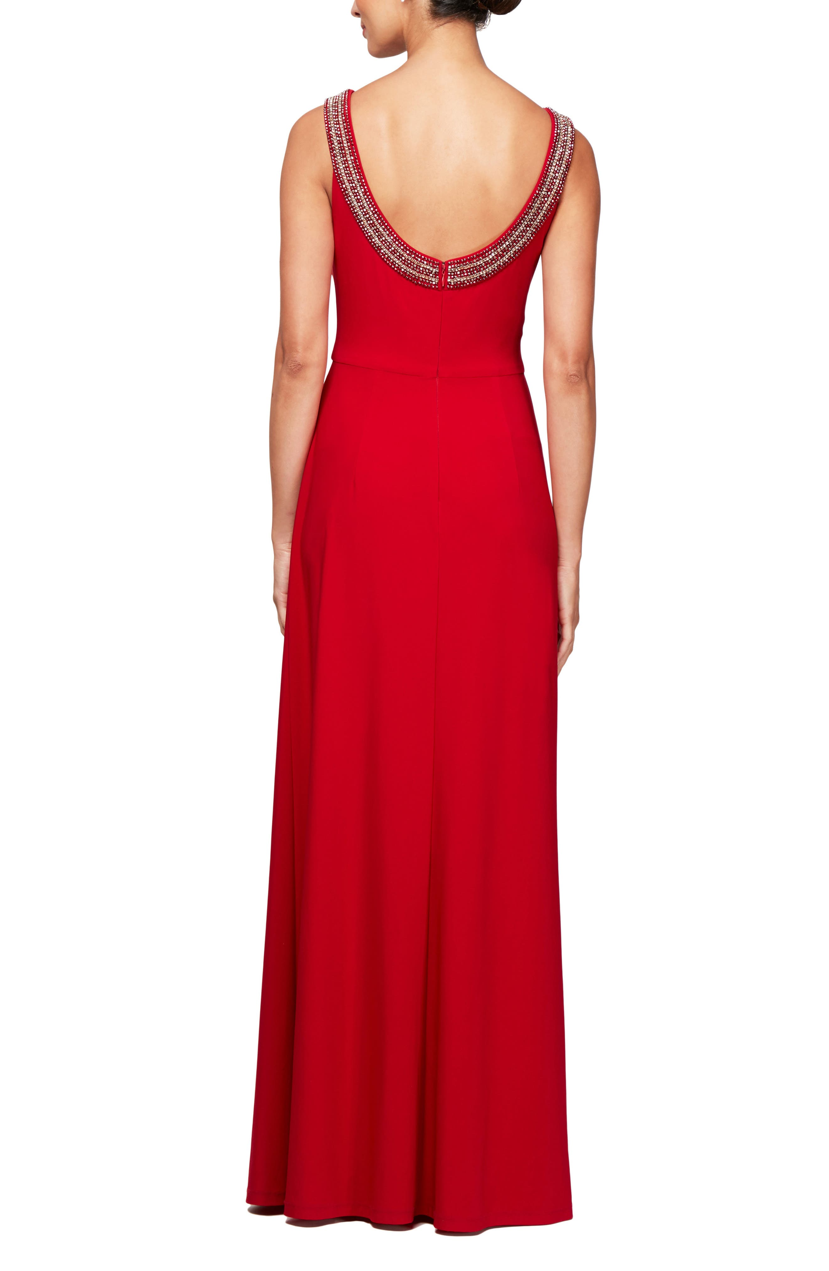 Side Ruched Gown,                             Alternate thumbnail 2, color,                             CRIMSON