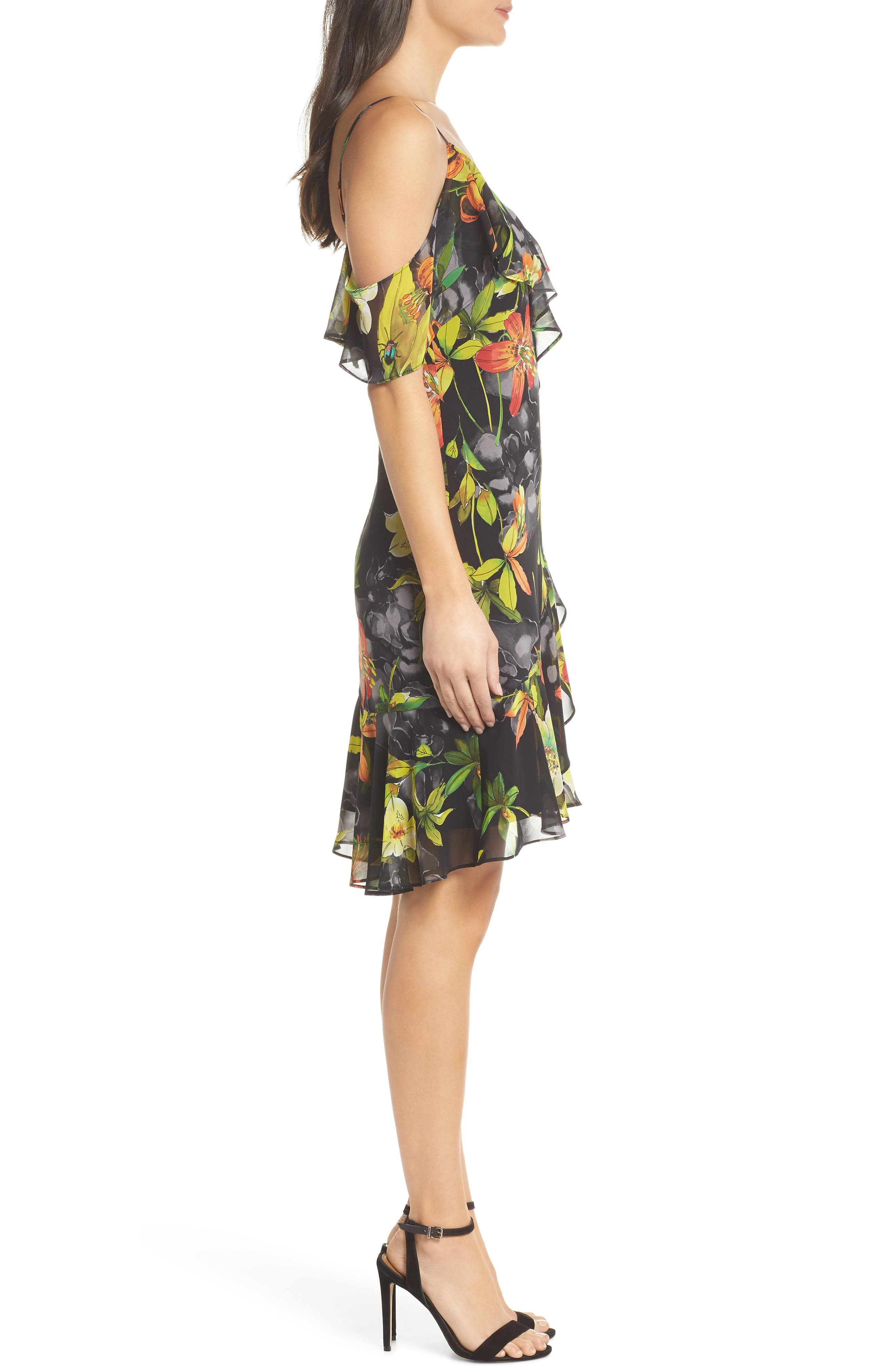 Print Cold Shoulder Chiffon Dress,                             Alternate thumbnail 3, color,                             001