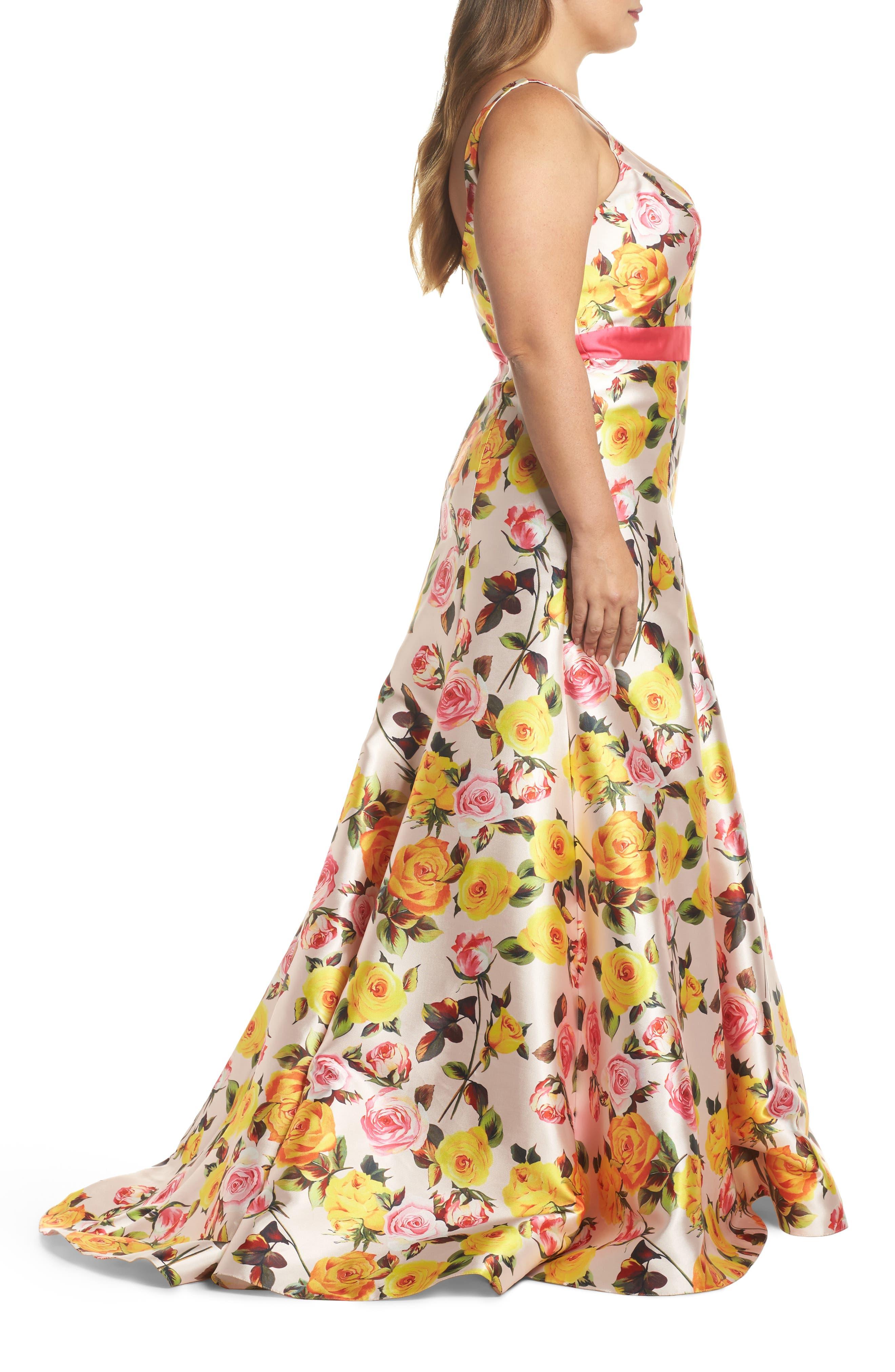 Floral Trumpet Gown,                             Alternate thumbnail 3, color,                             BLUSH FLORAL