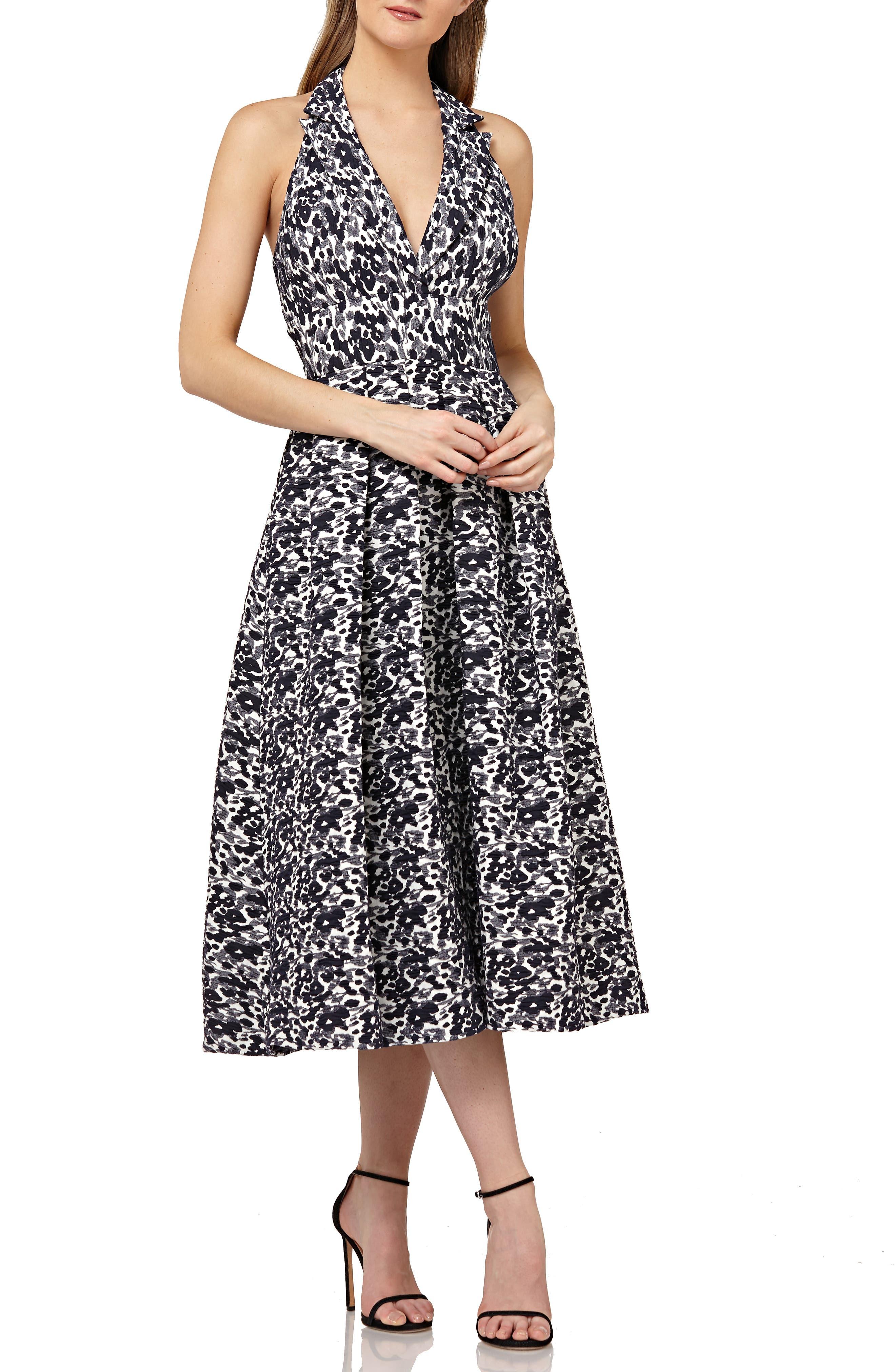 Halter Tea Length Dress,                             Main thumbnail 1, color,                             NAVY MULTI