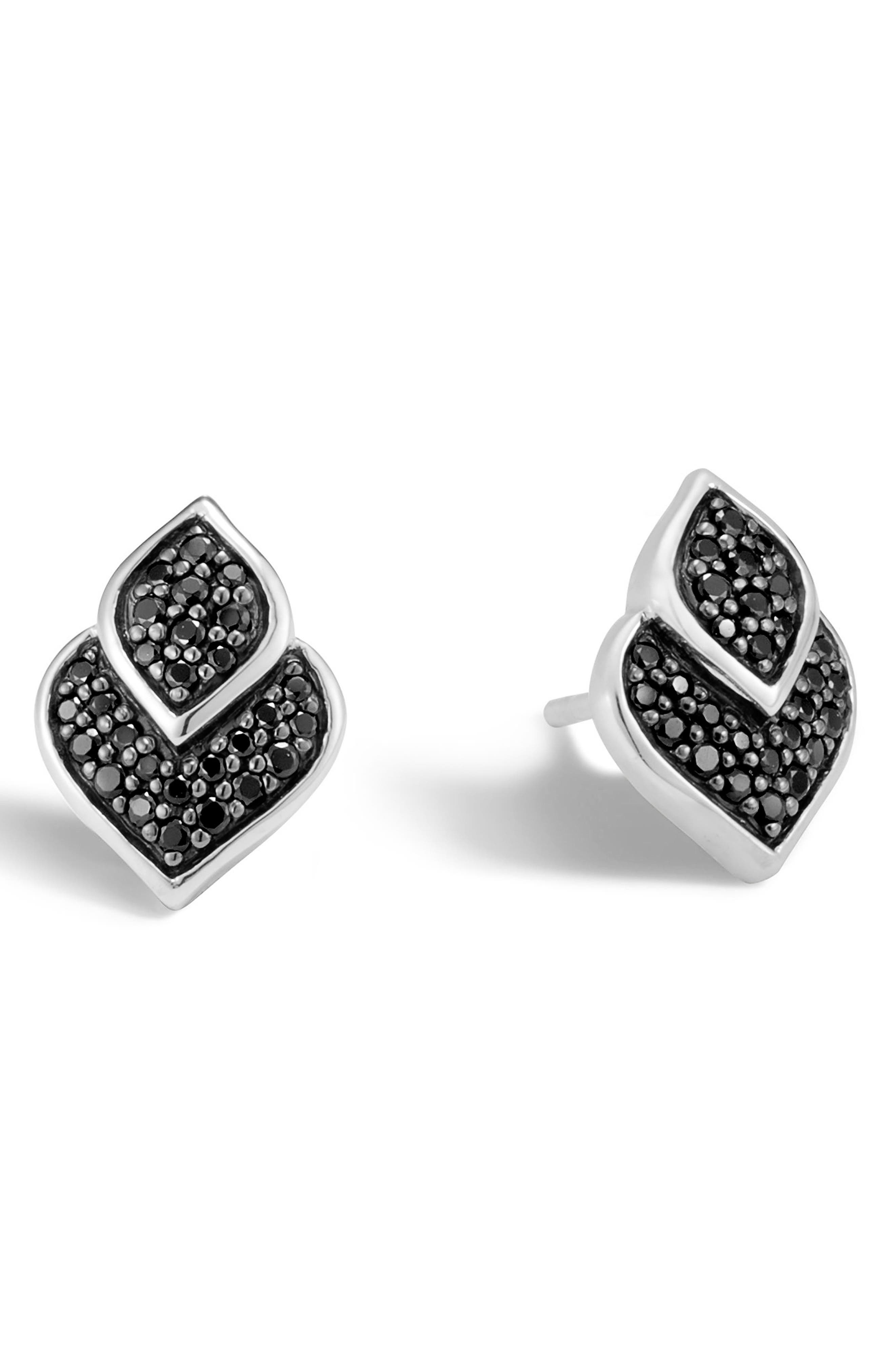 Legends Naga Stud Earrings,                             Main thumbnail 1, color,                             SILVER/ BLACK SAPPHIRE