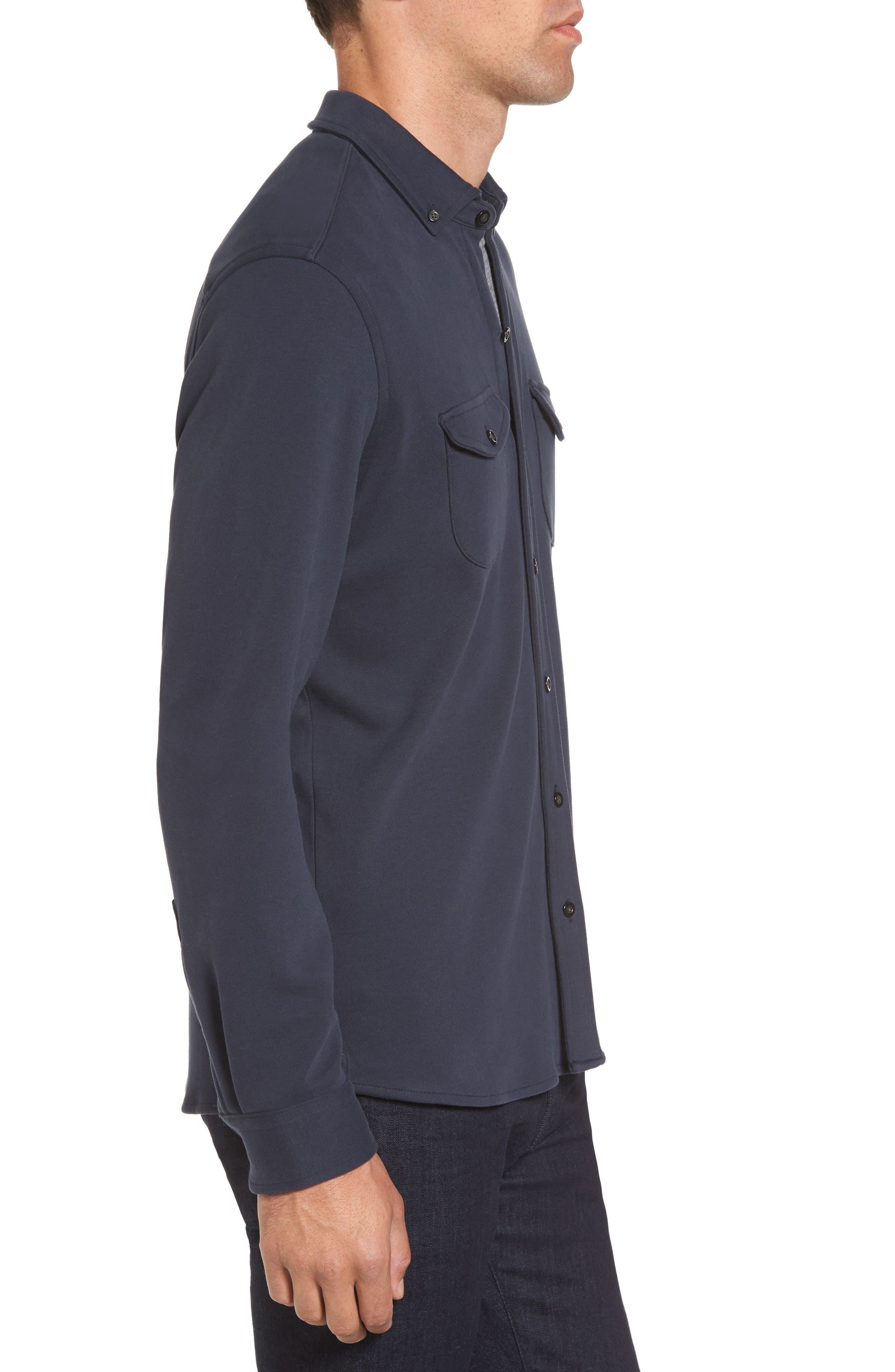 Trim Fit Pima Cotton Knit Sport Shirt,                             Alternate thumbnail 3, color,                             410
