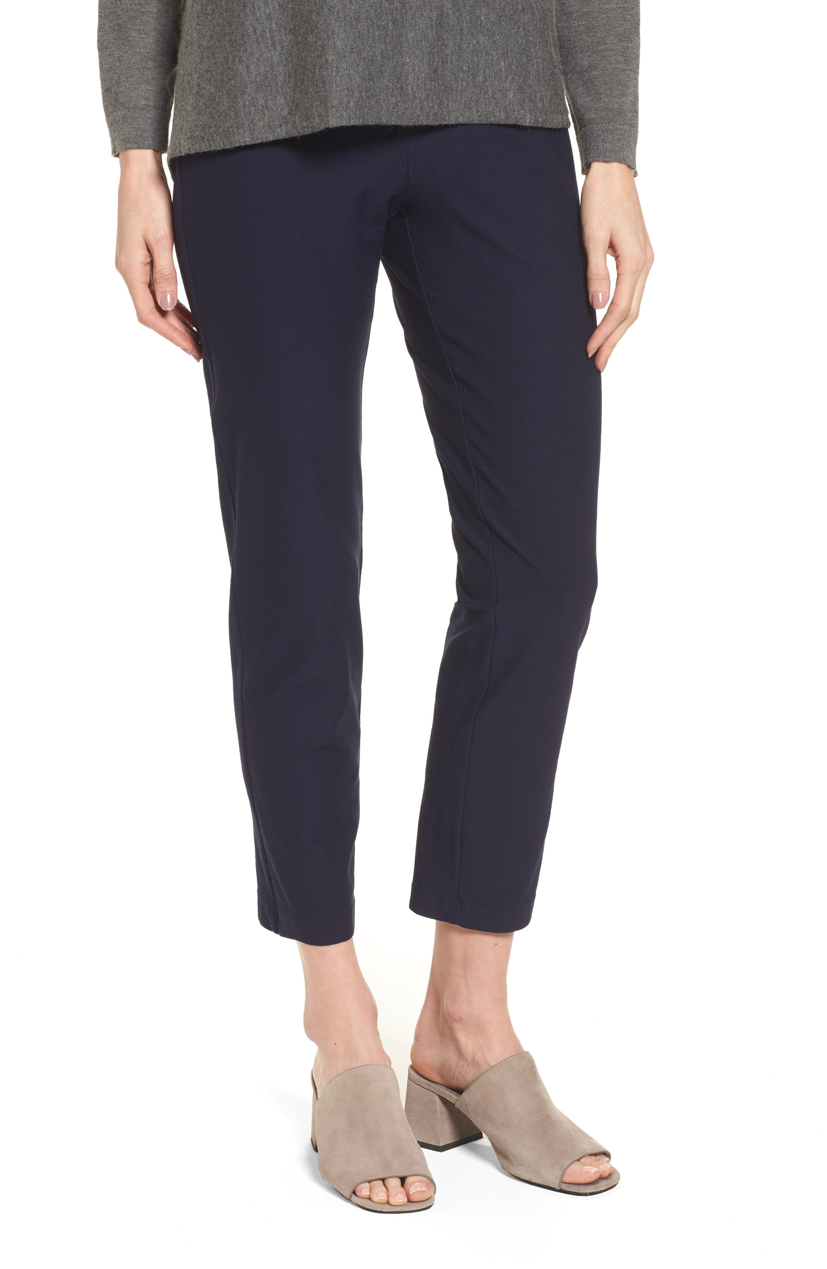 Stretch Crepe Slim Ankle Pants,                             Main thumbnail 1, color,                             MIDNIGHT