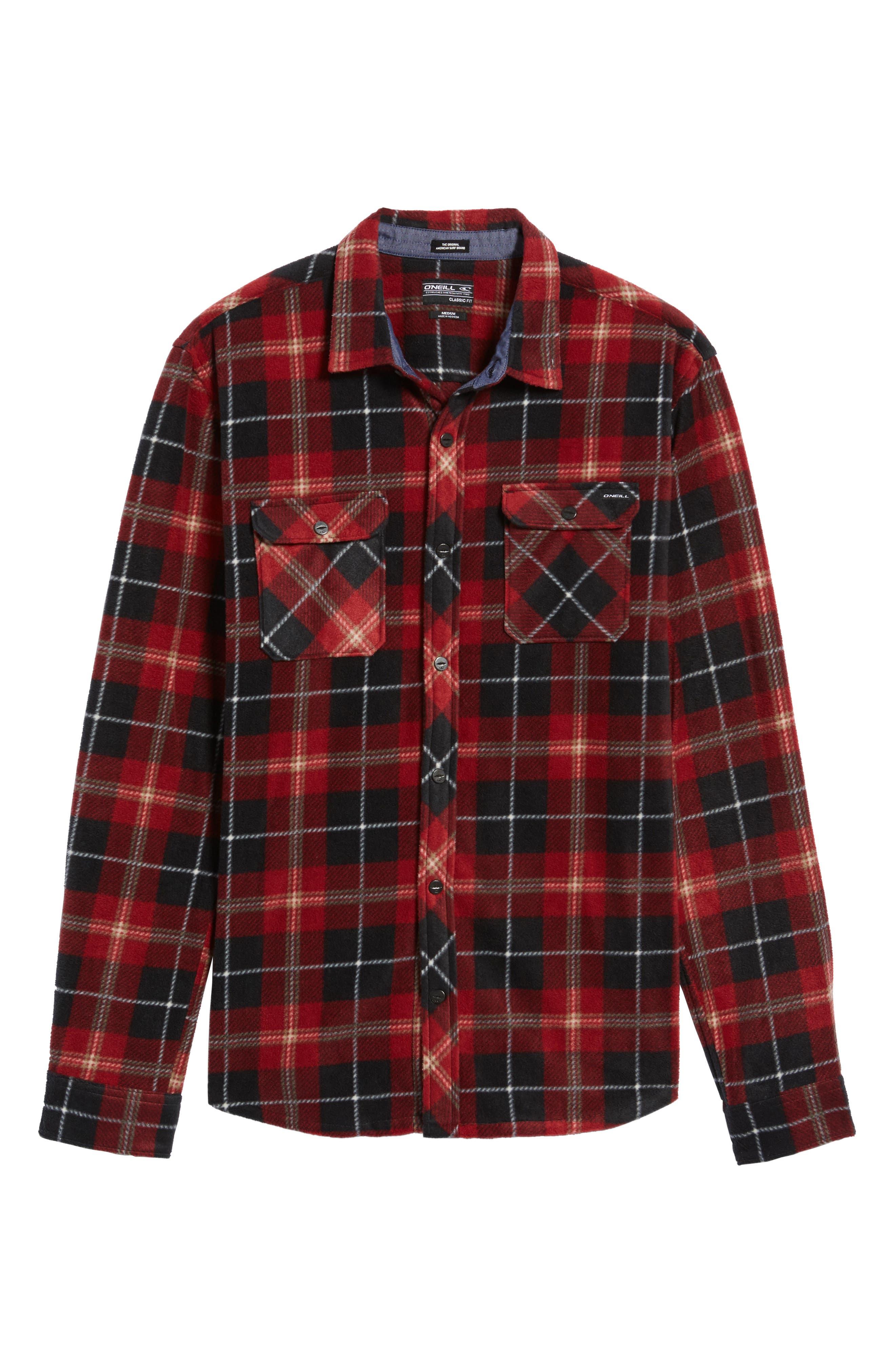 Glacier Plaid Fleece Flannel Shirt,                             Alternate thumbnail 28, color,