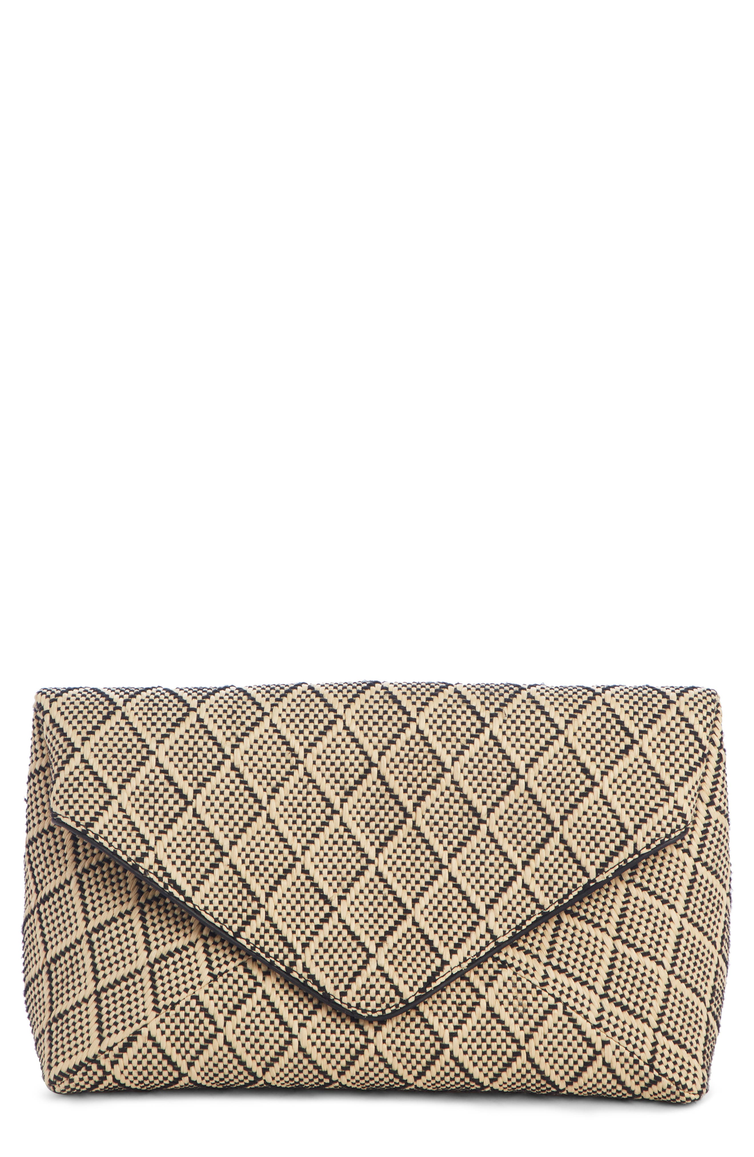 Woven Envelope Clutch - Beige in Natural