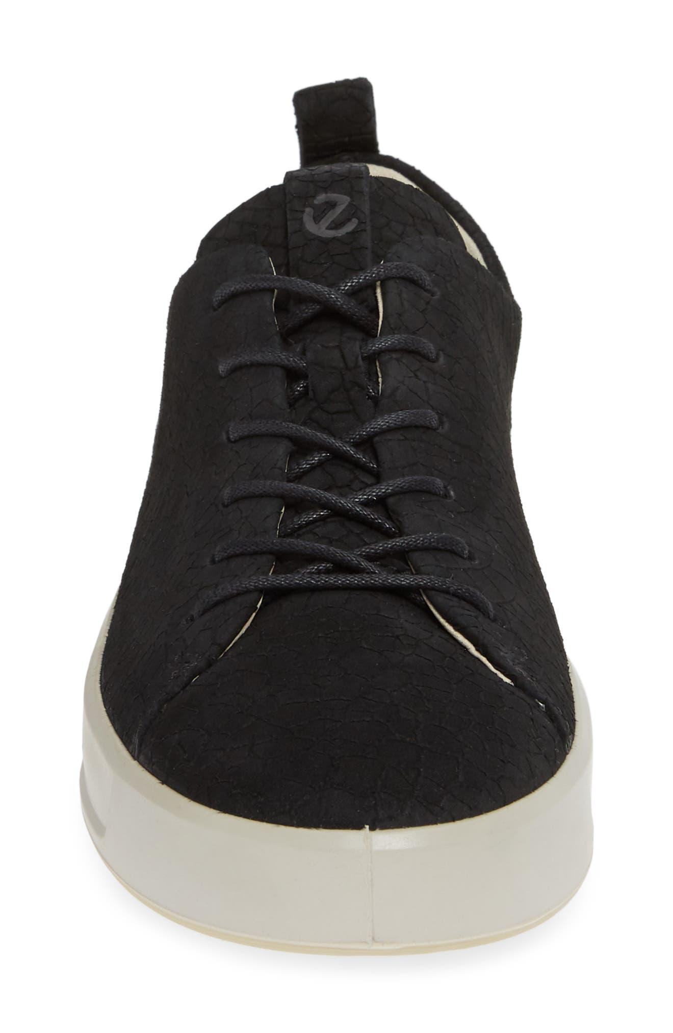 Soft 8 Sneaker,                             Alternate thumbnail 4, color,                             BLACK CRACKLED LEATHER
