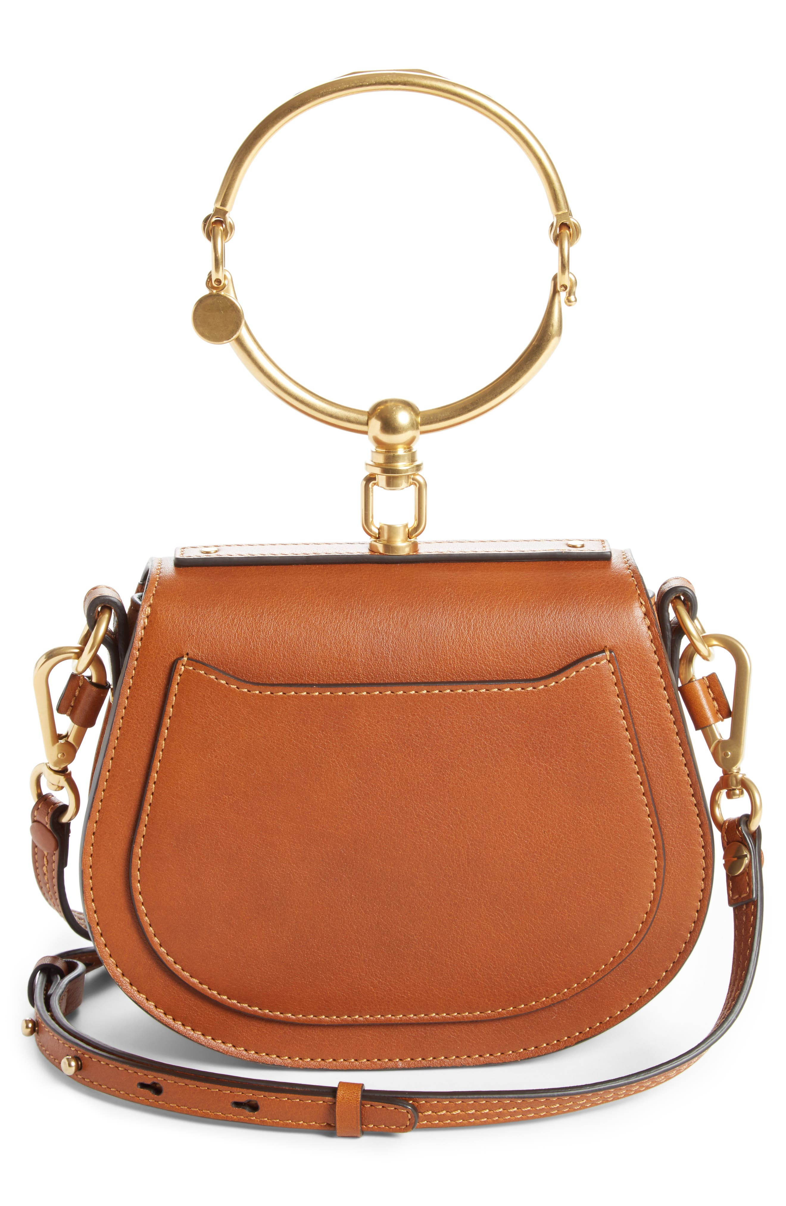 Small Nile Bracelet Leather Crossbody Bag,                             Alternate thumbnail 4, color,                             CARAMEL