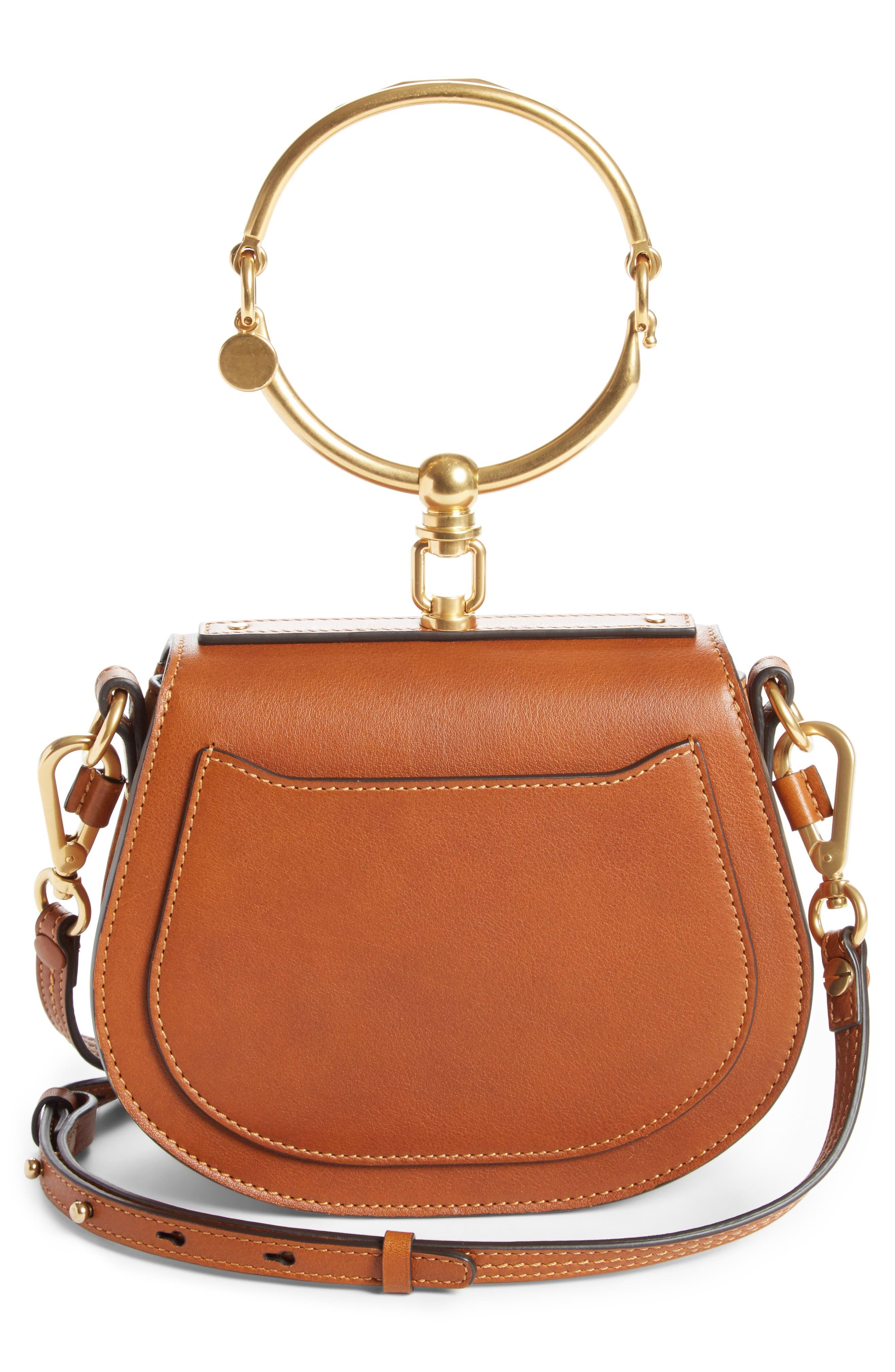 Small Nile Bracelet Leather Crossbody Bag,                             Alternate thumbnail 3, color,                             CARAMEL