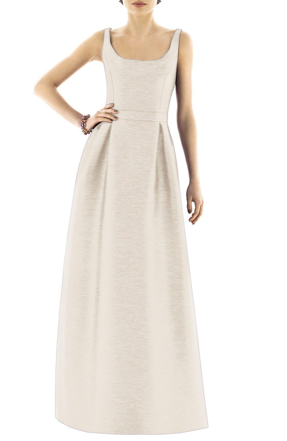 Scoop Neck Dupioni Full Length Dress,                             Alternate thumbnail 16, color,