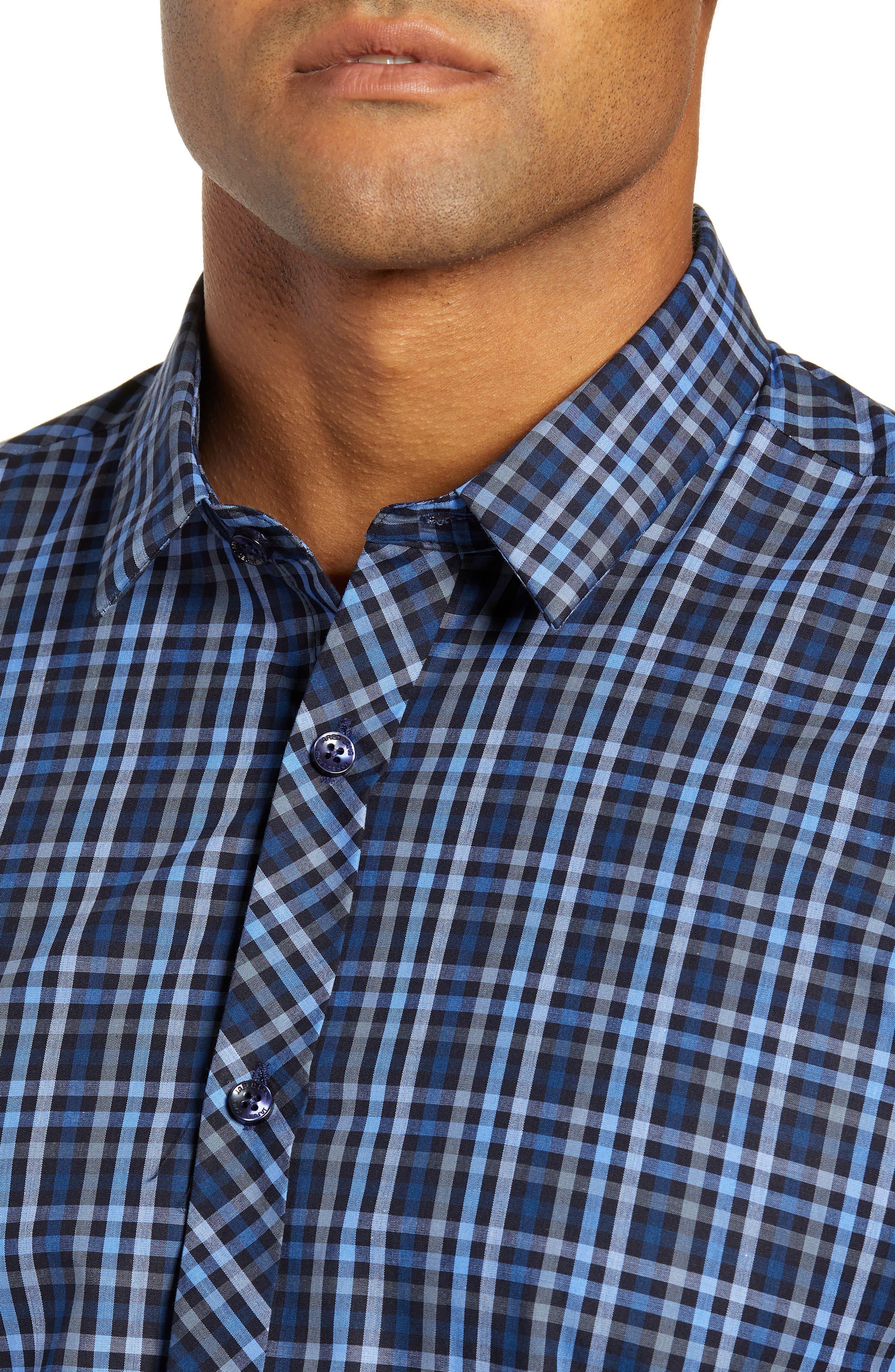 Trim Fit Sport Shirt,                             Alternate thumbnail 2, color,                             NAVY - BLUE MULTI CHECK
