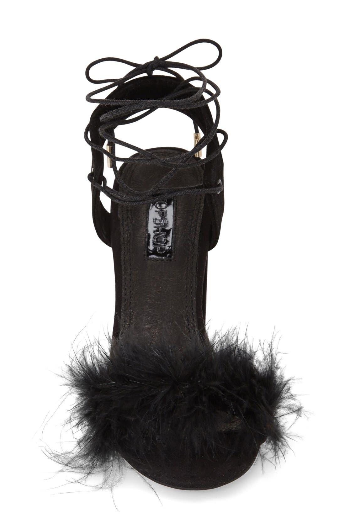 Marabou Feather Lace-Up Sandal,                             Alternate thumbnail 3, color,                             001