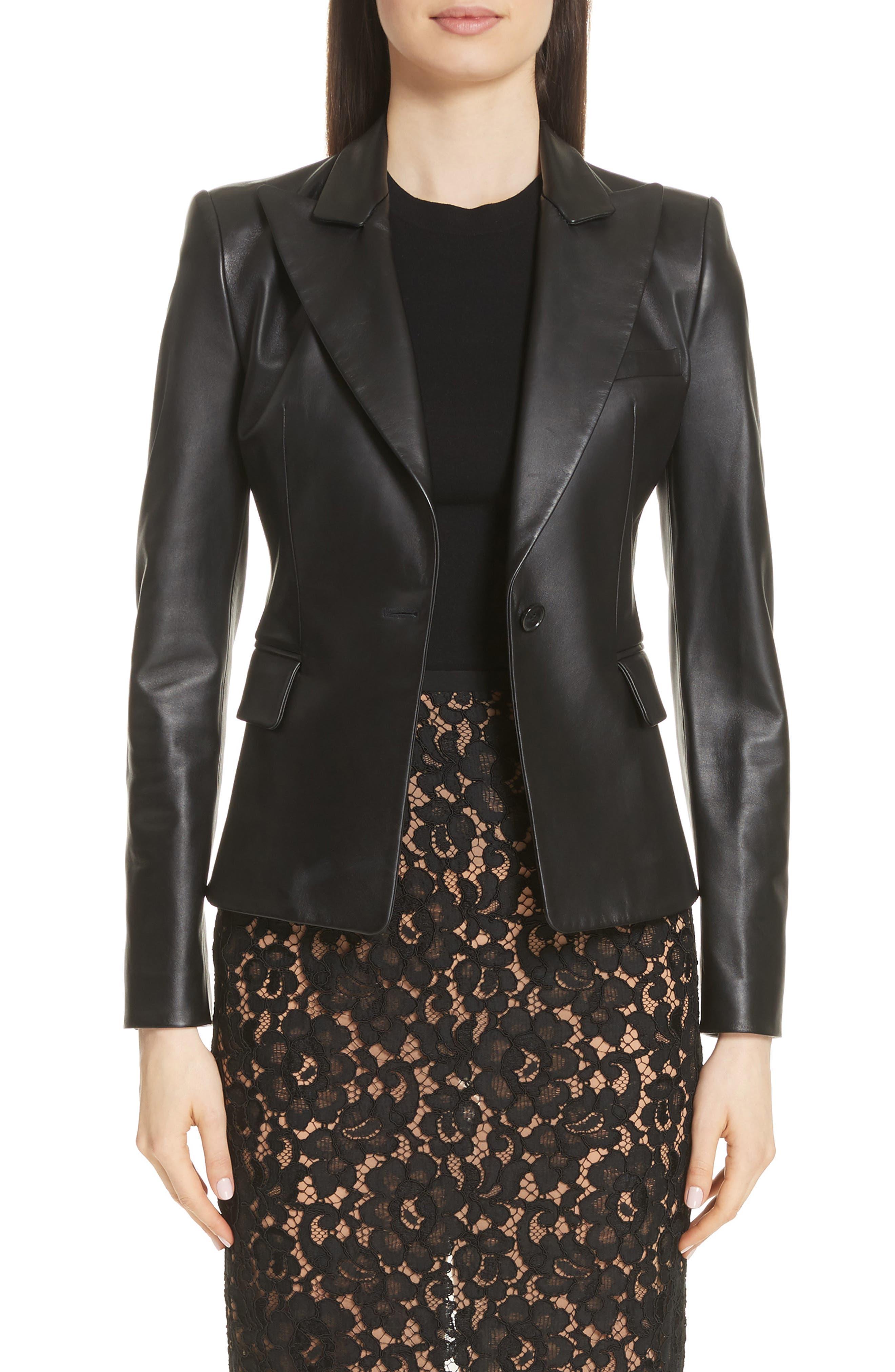 Plongé Leather Jacket,                         Main,                         color, 001