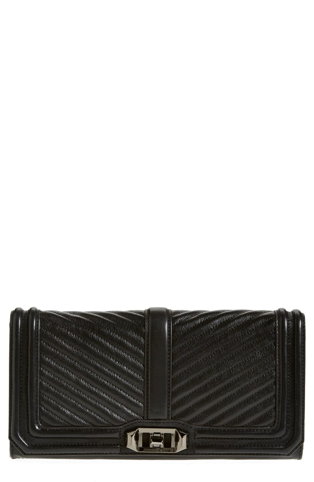 REBECCA MINKOFF,                             'Chevron Quilted Love' Clutch,                             Main thumbnail 1, color,                             001