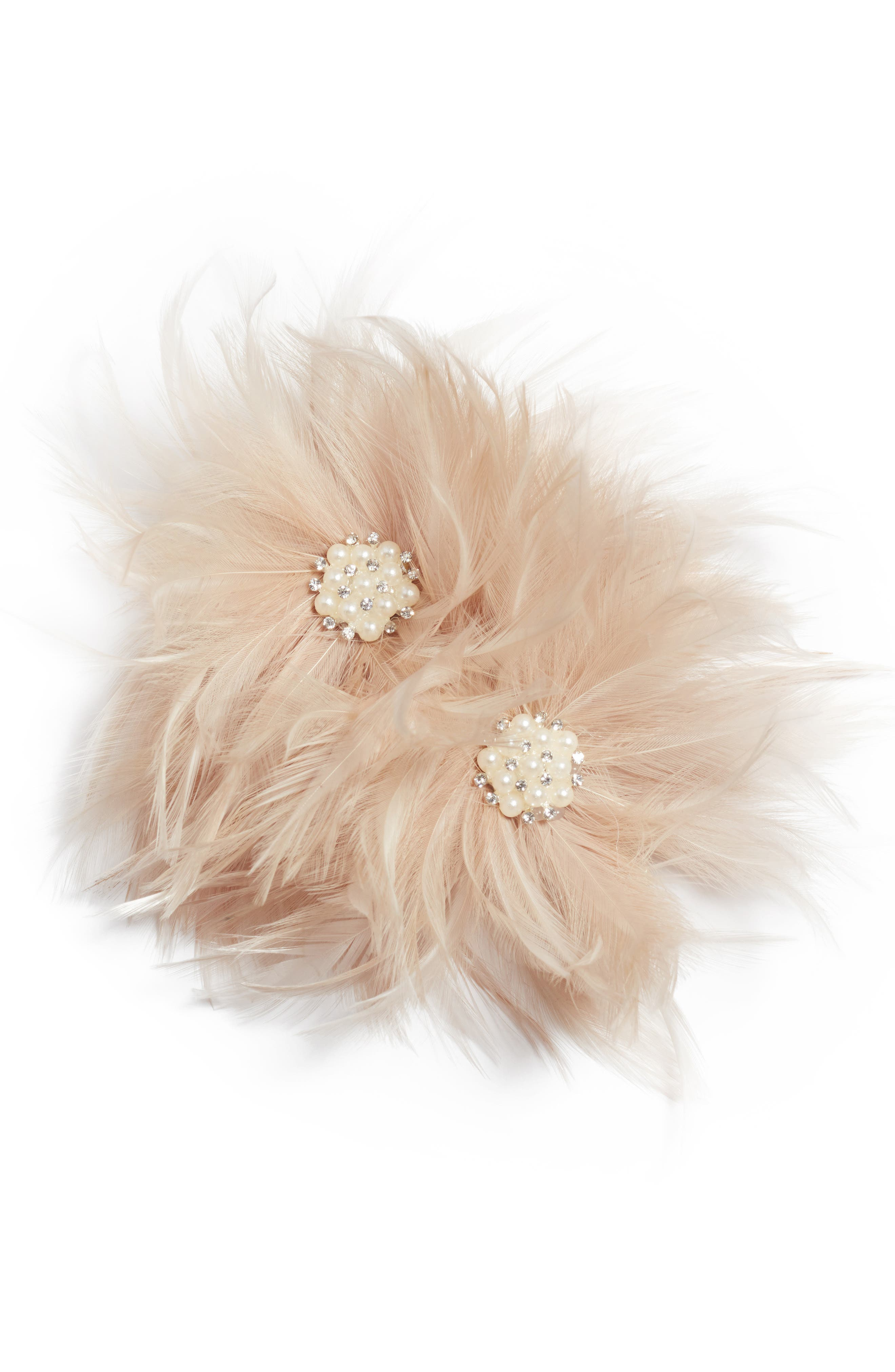 Henley Imitation Pearl & Feather Hair Comb,                         Main,                         color, 650
