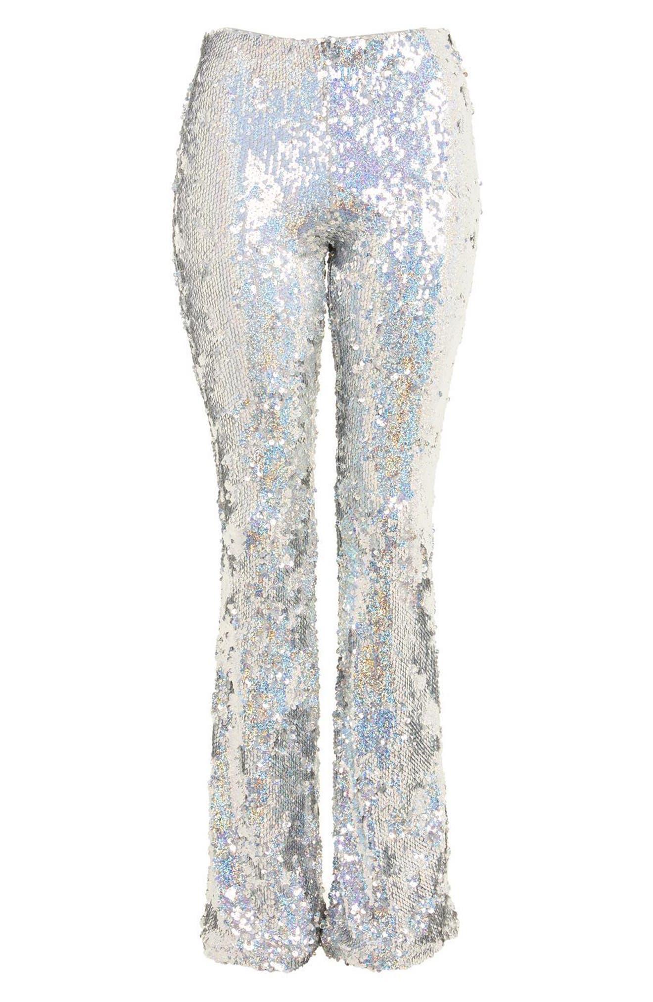 Premium Sequin Flare Leg Trousers,                             Alternate thumbnail 4, color,                             040