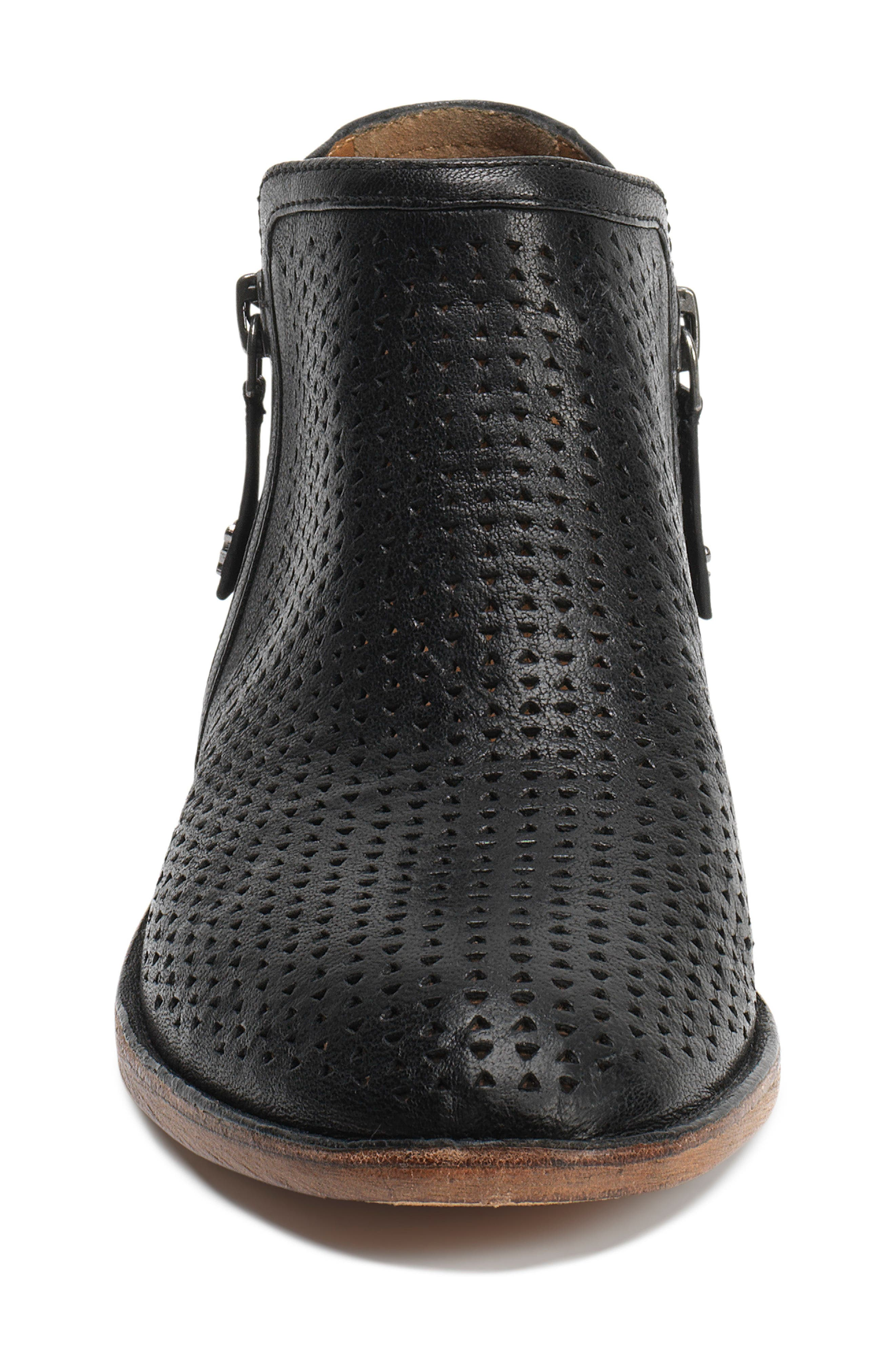 Addison Low Perforated Bootie,                             Alternate thumbnail 4, color,                             BLACK LEATHER