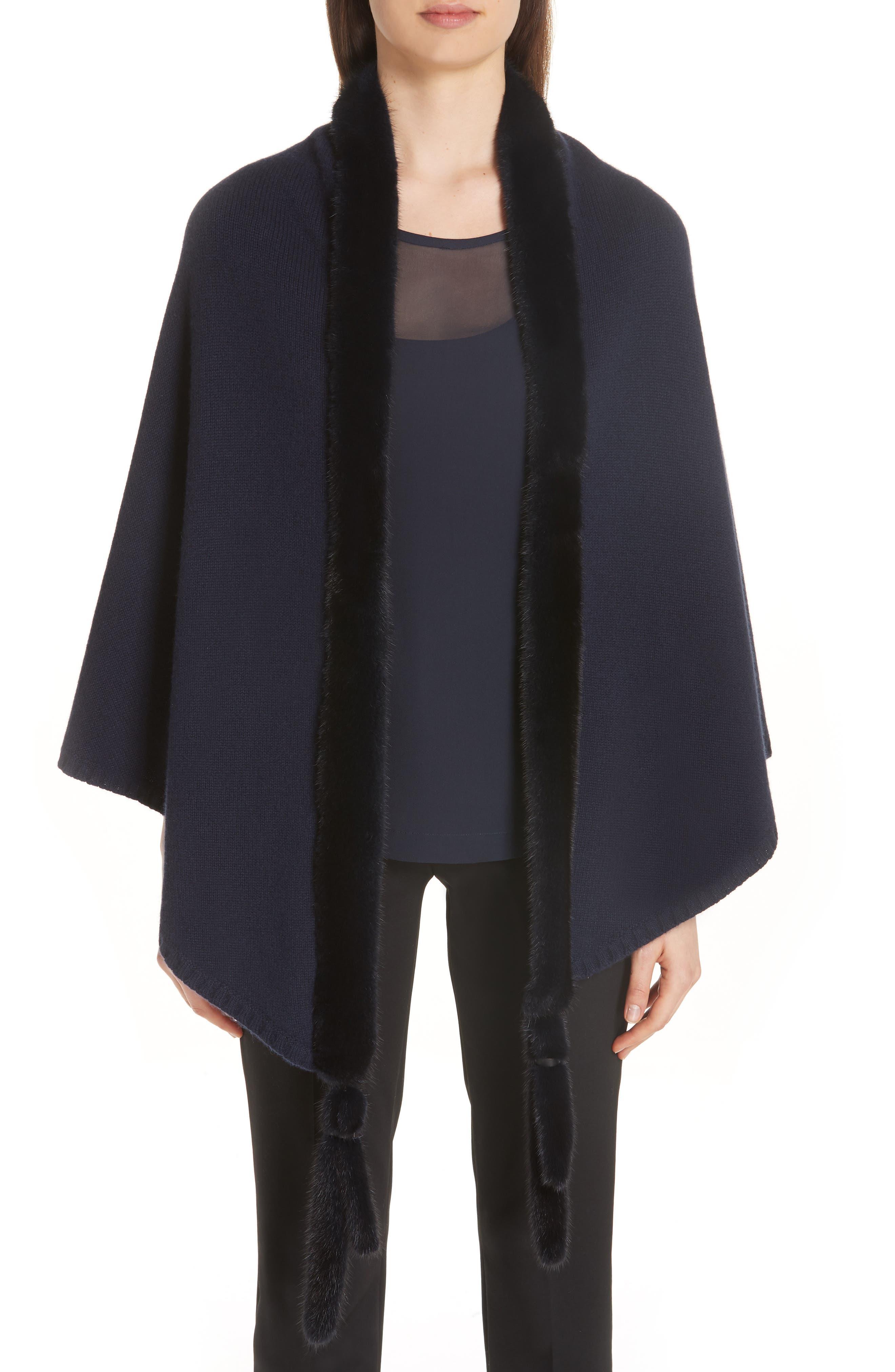 Cashmere & Genuine Mink Fur Wrap, Main, color, ULTRAMARINE NAVY