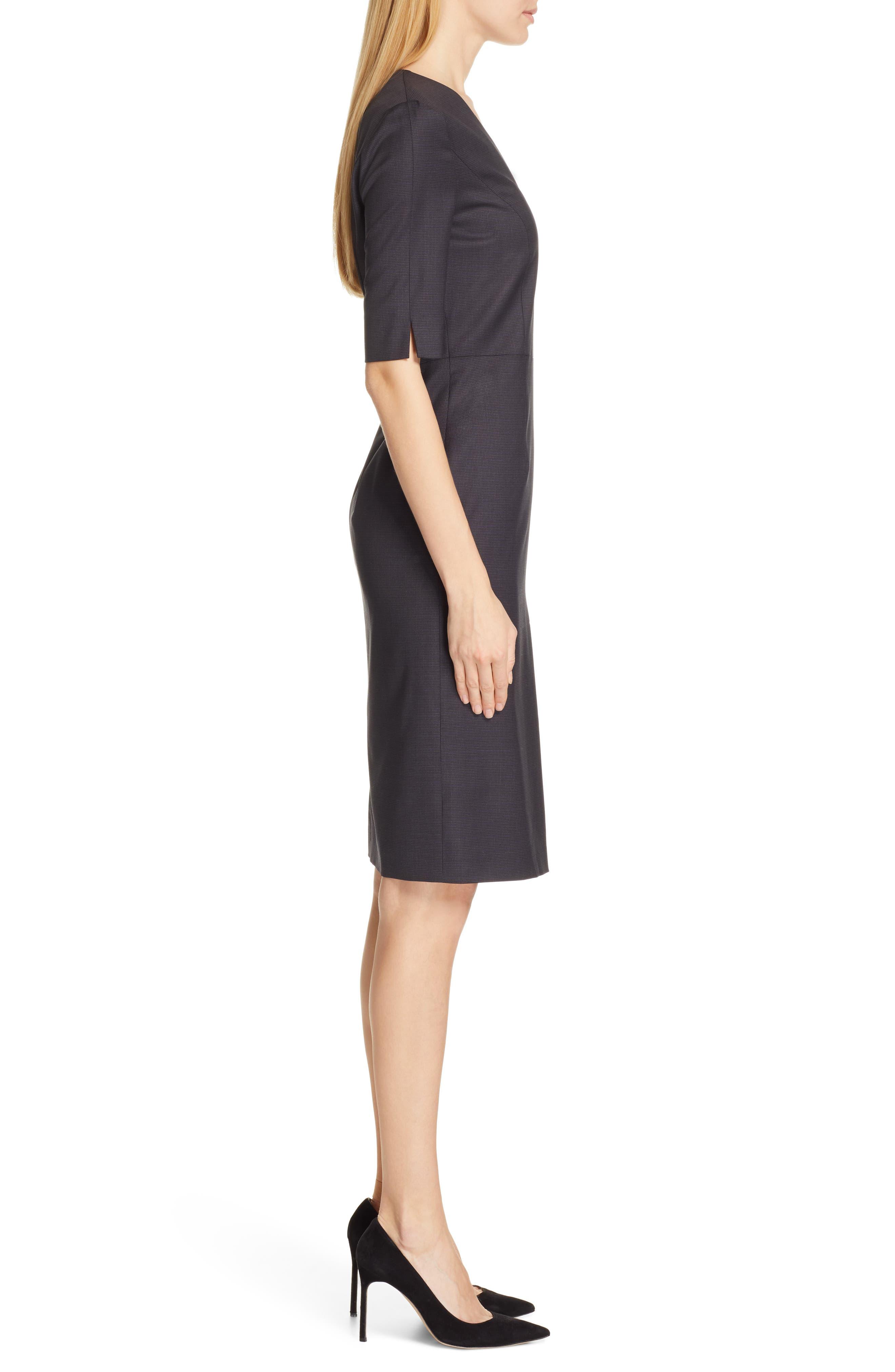 BOSS,                             Dalissa Pepita Wool Dress,                             Alternate thumbnail 3, color,                             BLACK FANTASY