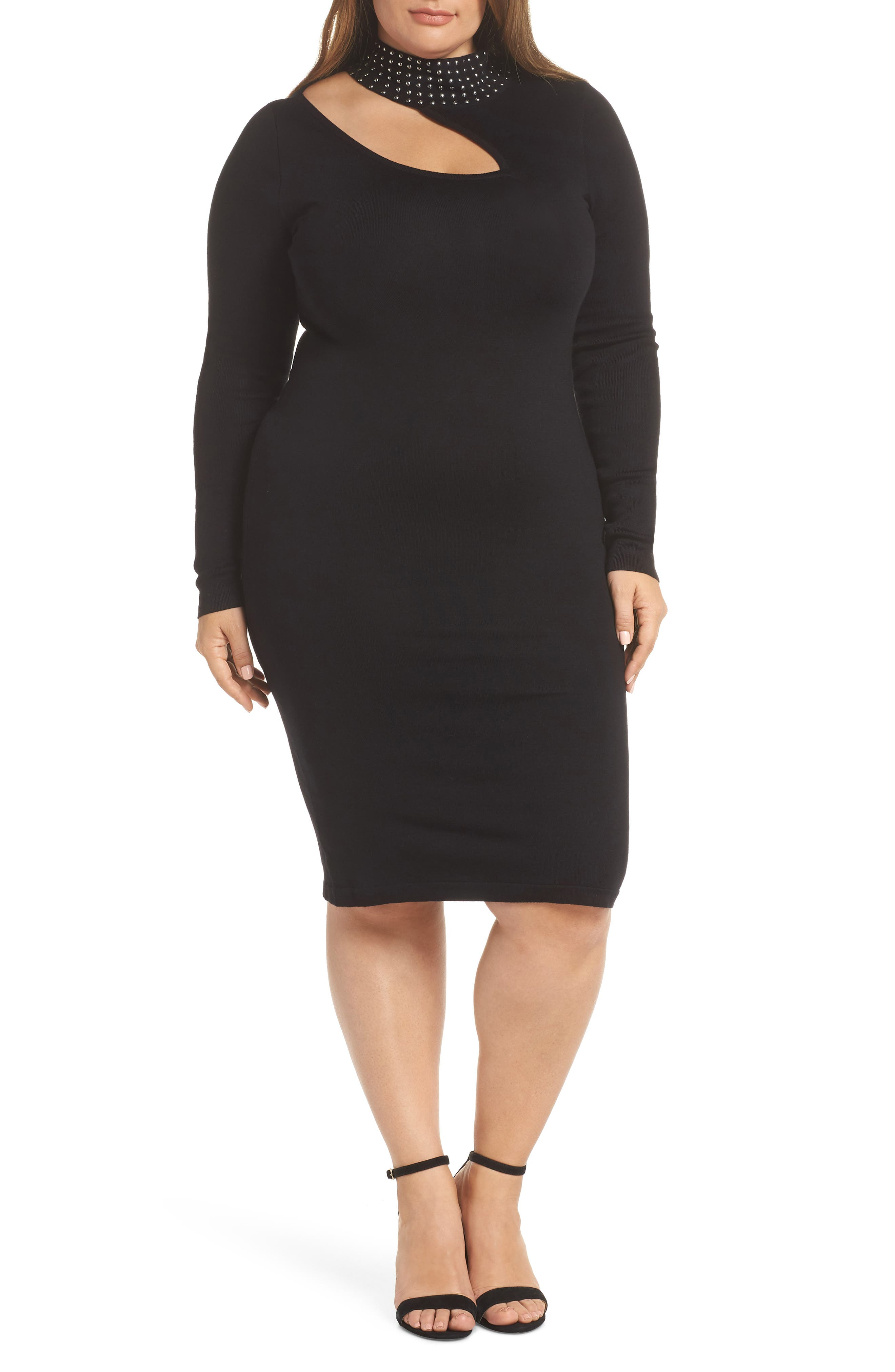 Stud Detail Body-Con Dress,                         Main,                         color, BLACK