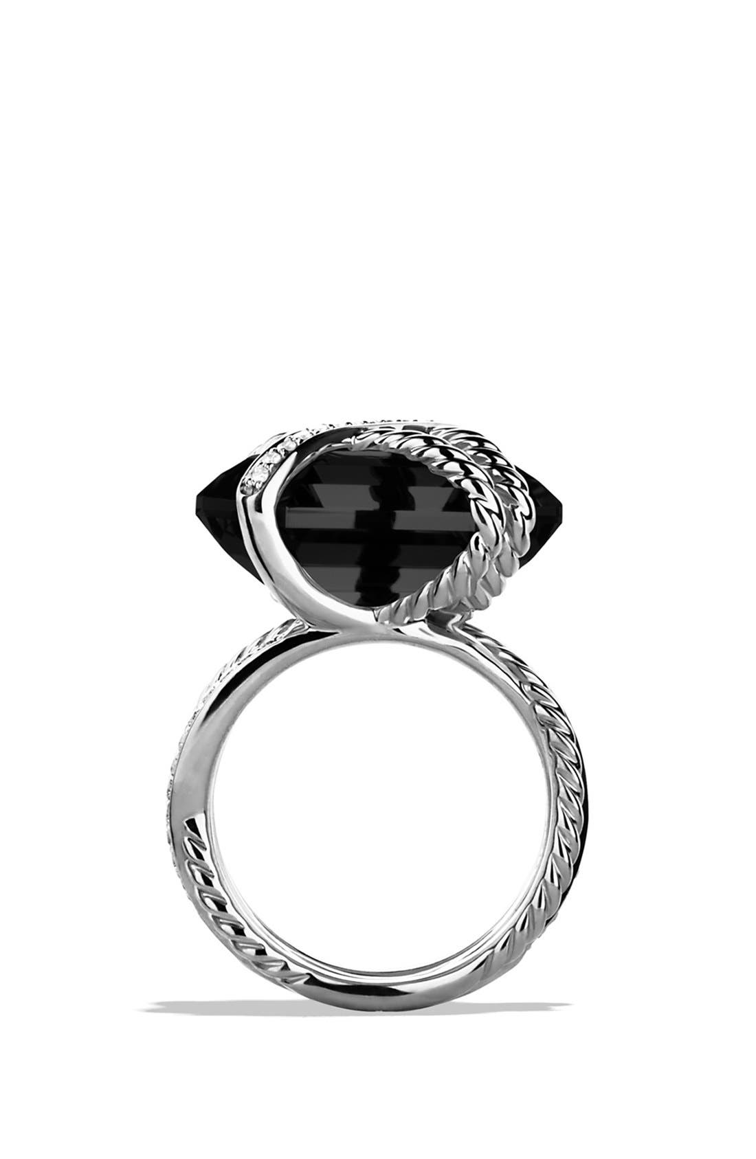 DAVID YURMAN,                             'Cable Wrap' Ring with Black Onyx and Diamonds,                             Alternate thumbnail 3, color,                             001