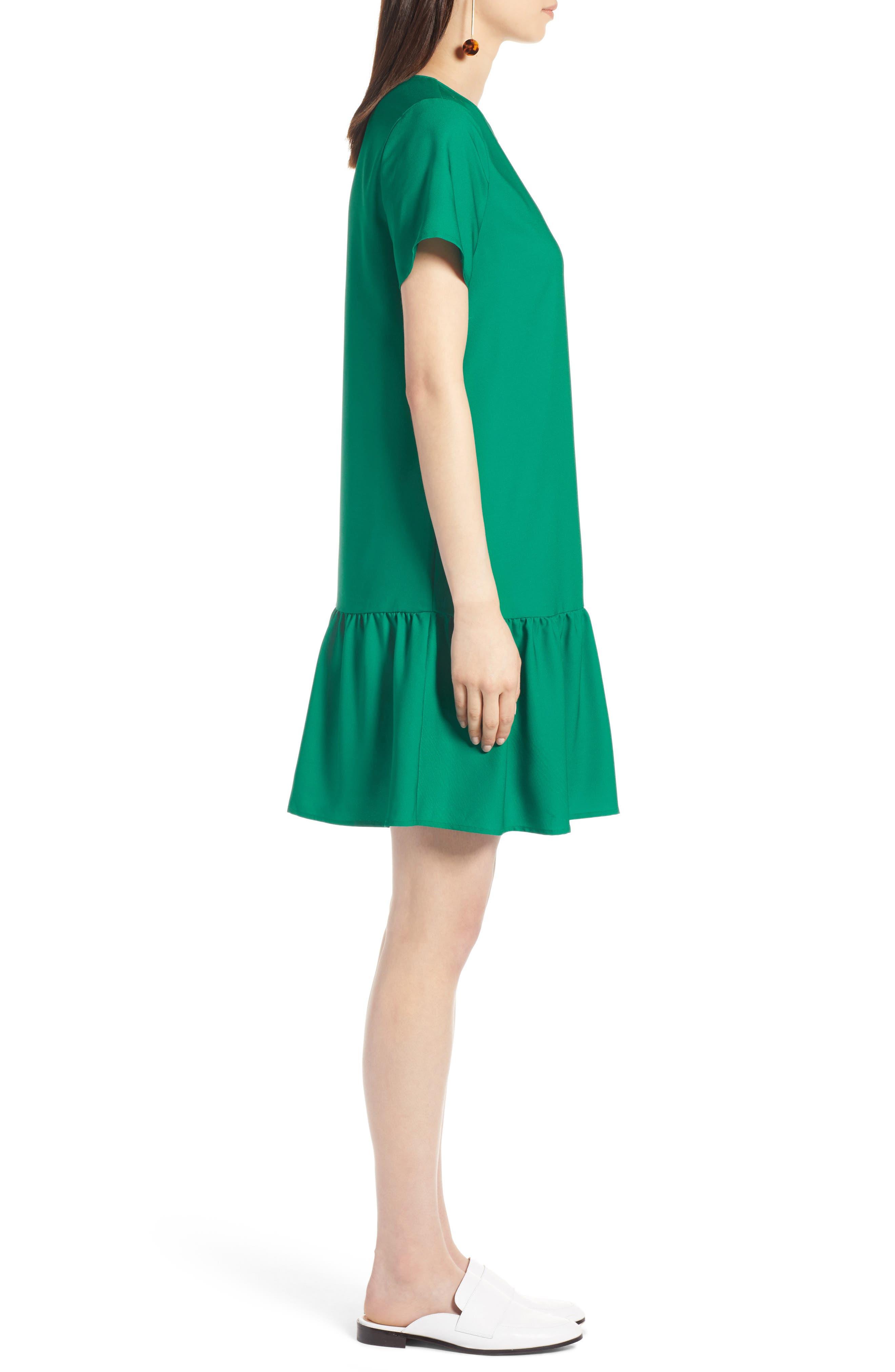 Short Sleeve Ruffle Hem Dress,                             Alternate thumbnail 16, color,