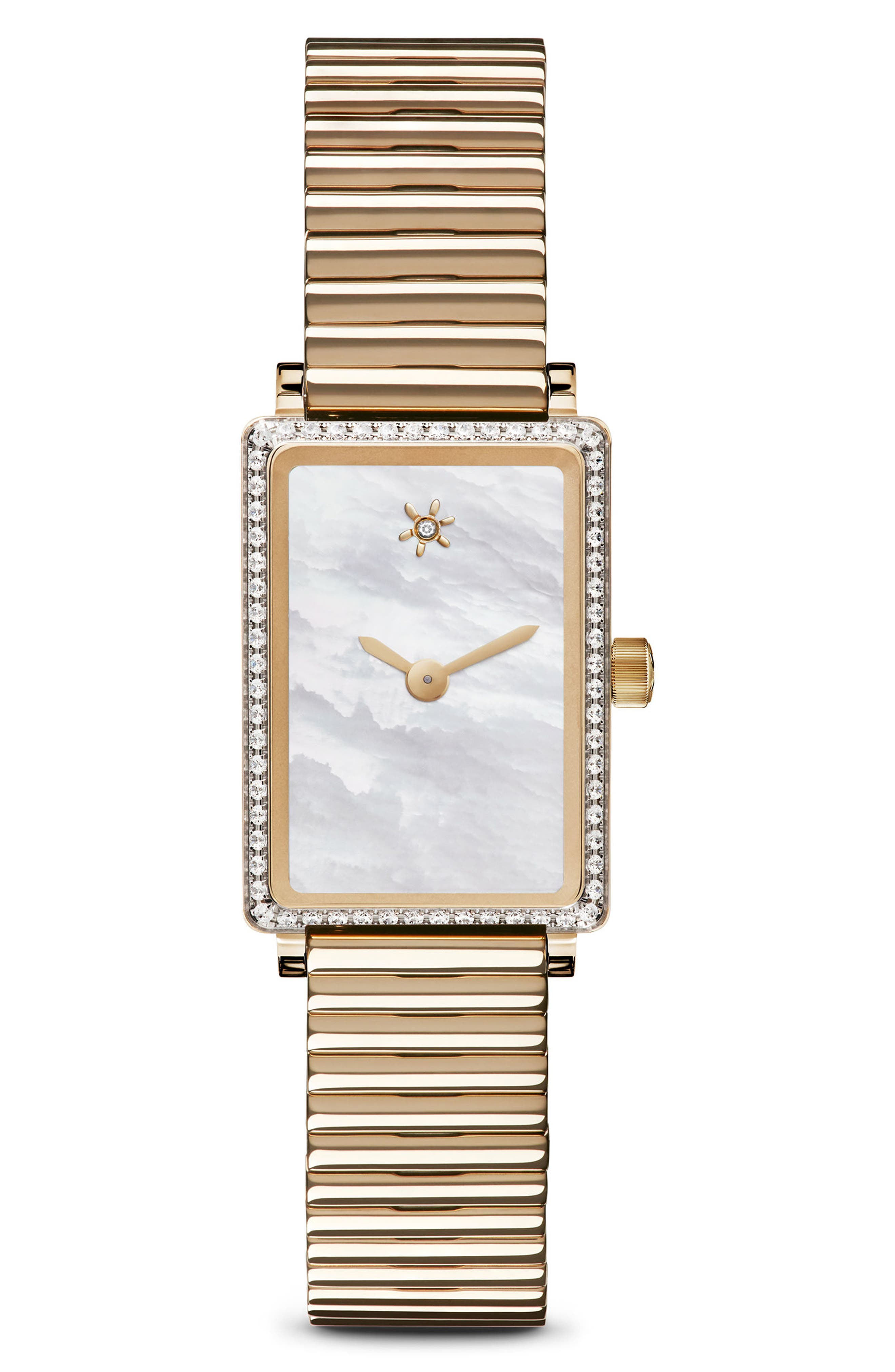 The Shirley Fromer Mini Diamond Bracelet Watch, 18mm x 26mm,                             Main thumbnail 1, color,                             GOLD/ MOP/ GOLD
