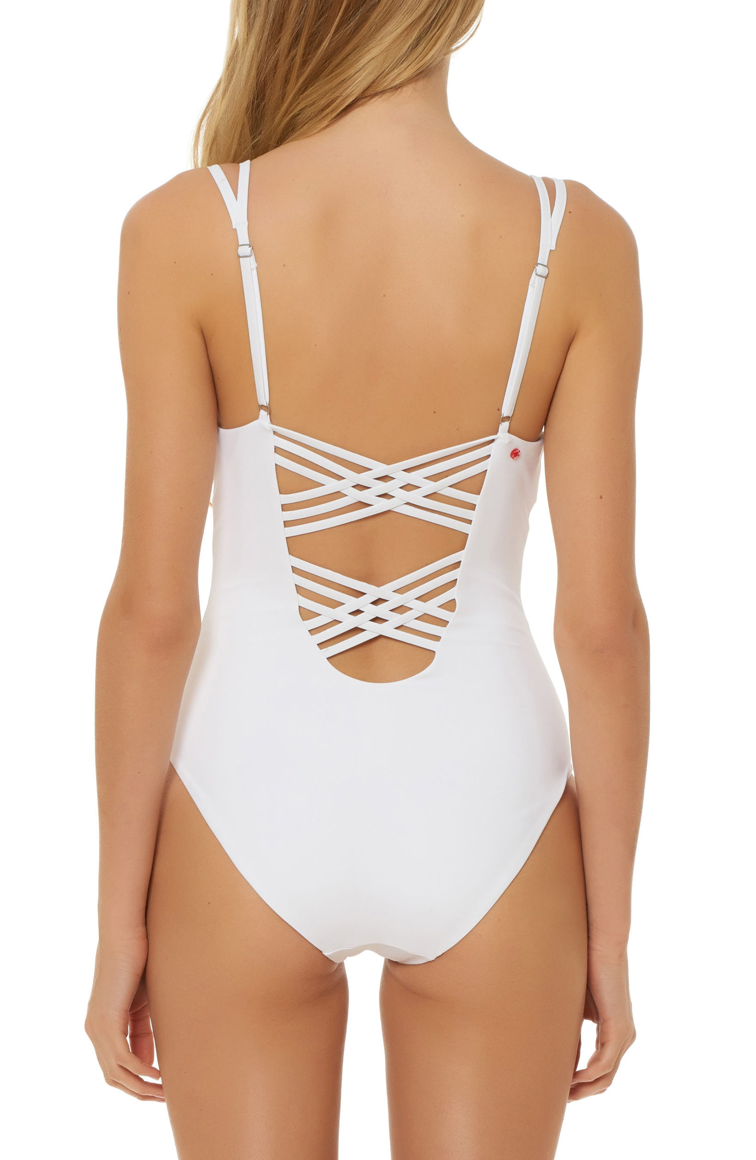 Strappy Plunge One-Piece Swimsuit,                             Alternate thumbnail 4, color,