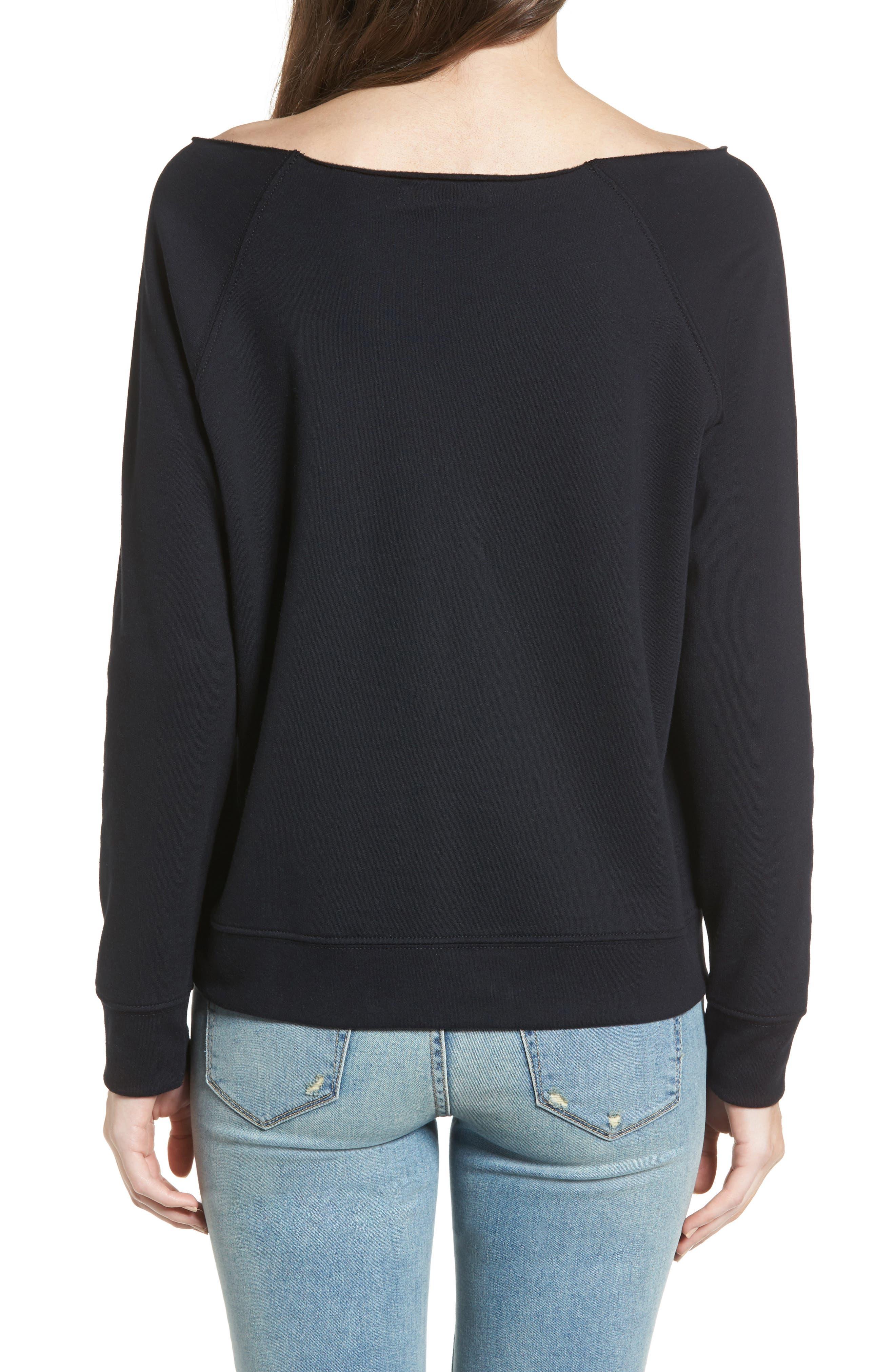Raw Neck Sweatshirt,                             Alternate thumbnail 2, color,                             001