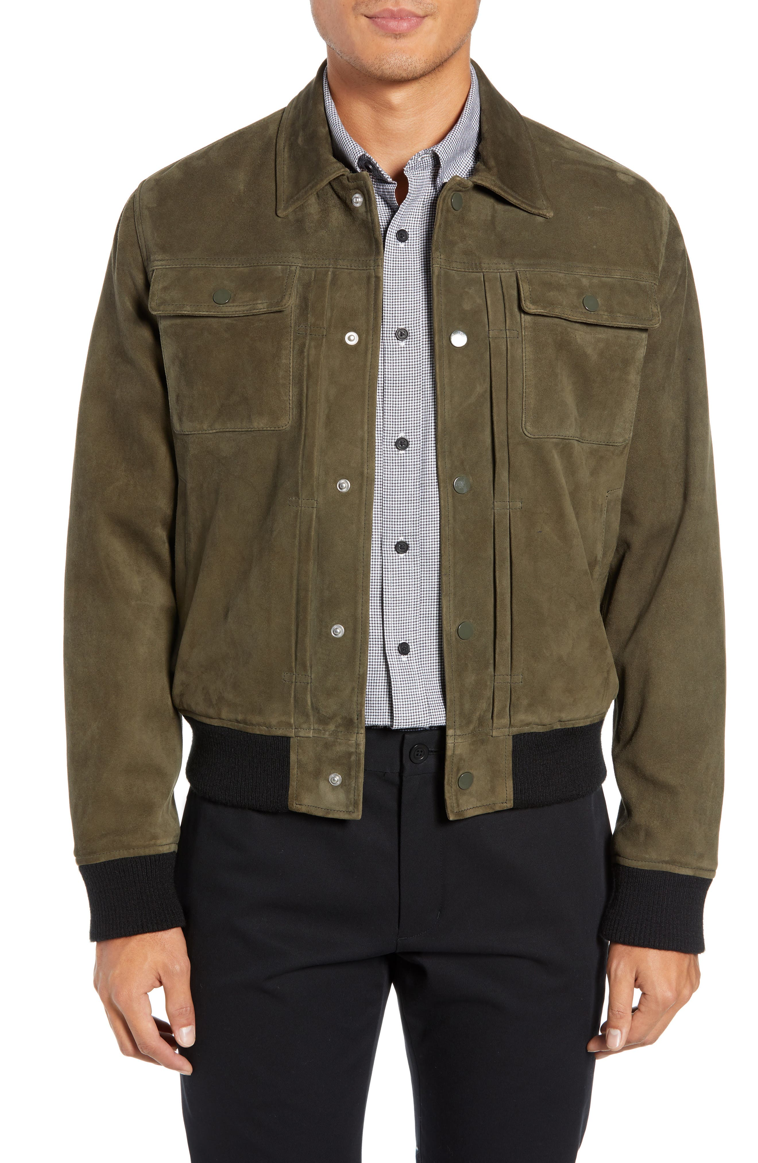 Suede Trucker Jacket,                             Main thumbnail 1, color,                             PALERMO OLIVE