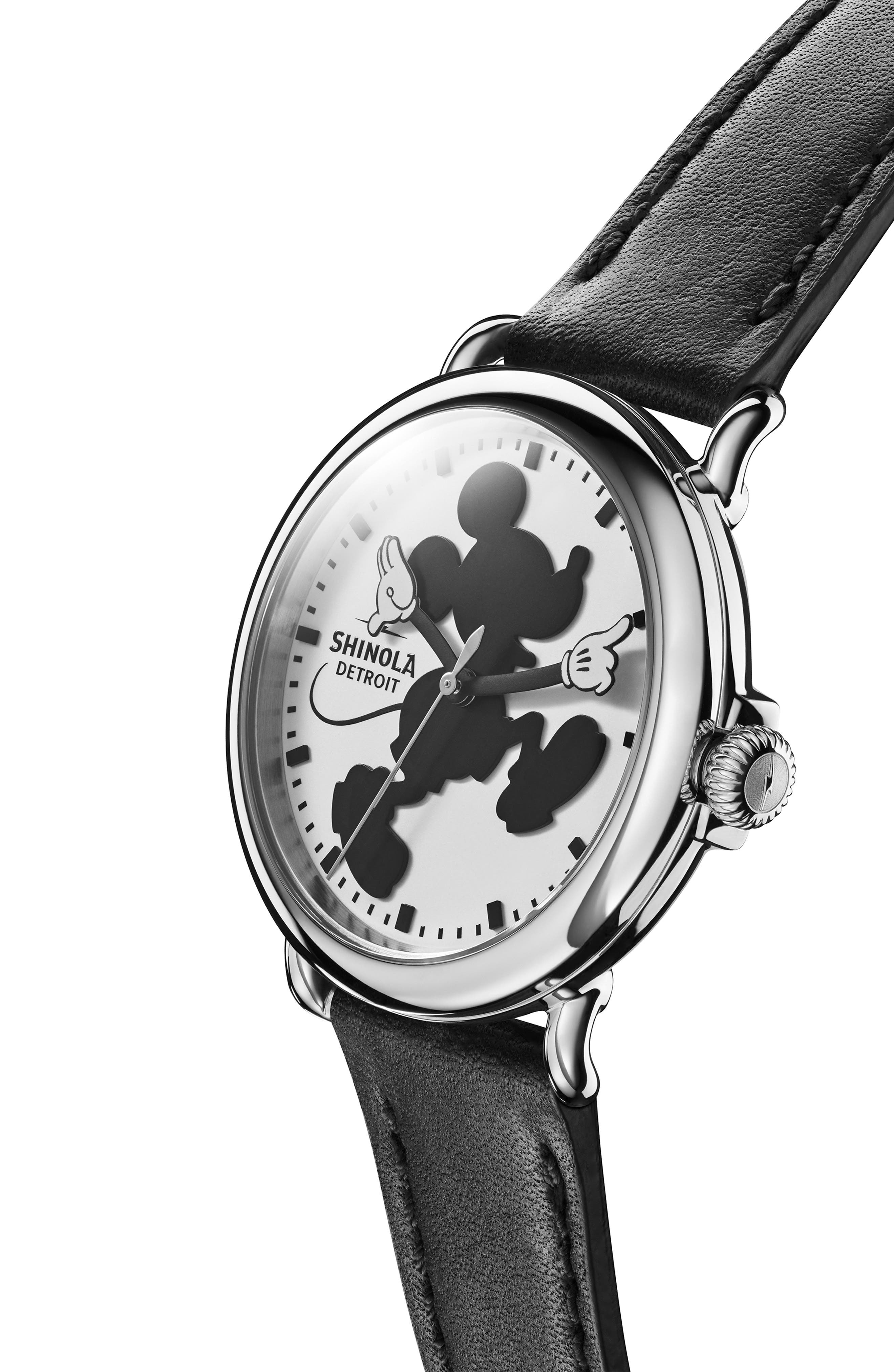 x Disney Runwell Mickey Classic Leather Strap Watch, 41mm,                             Alternate thumbnail 5, color,                             BLACK/ WHITE/ SILVER