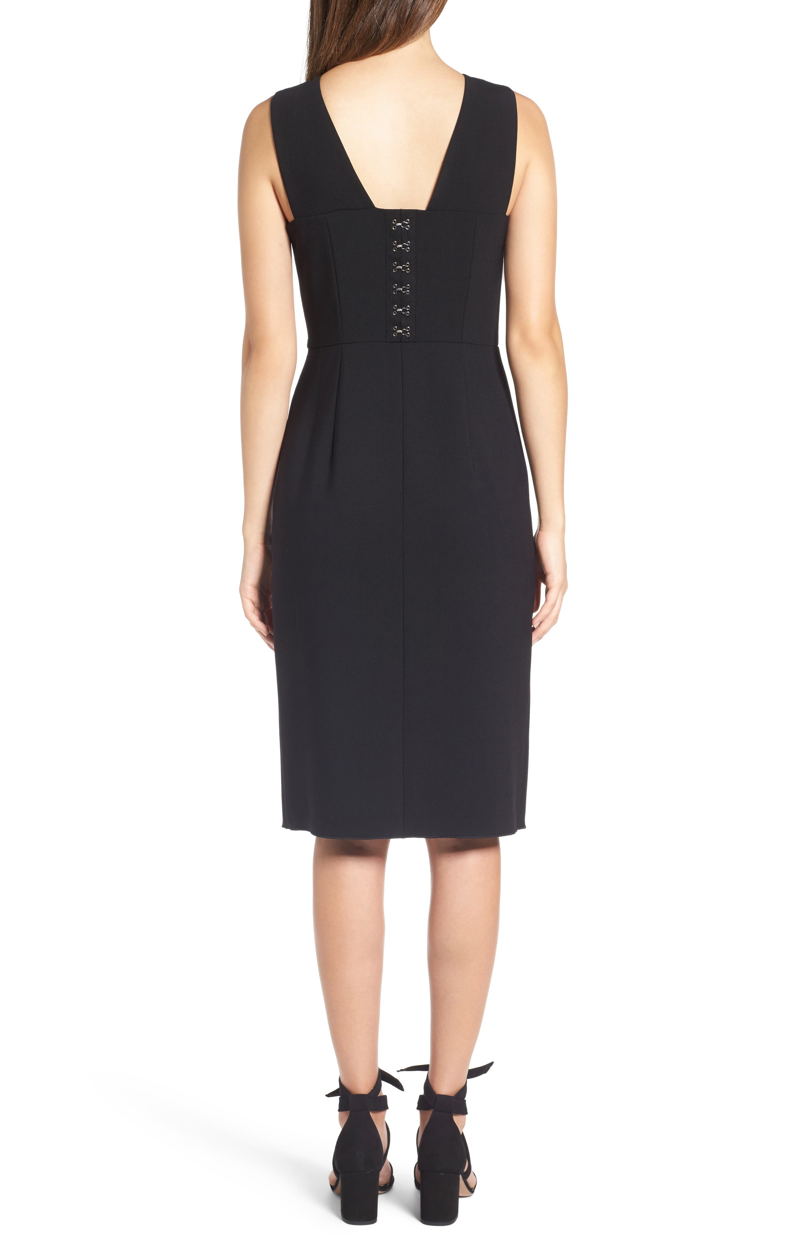 Corset Detail Stretch Wool Sheath Dress,                             Alternate thumbnail 2, color,                             001