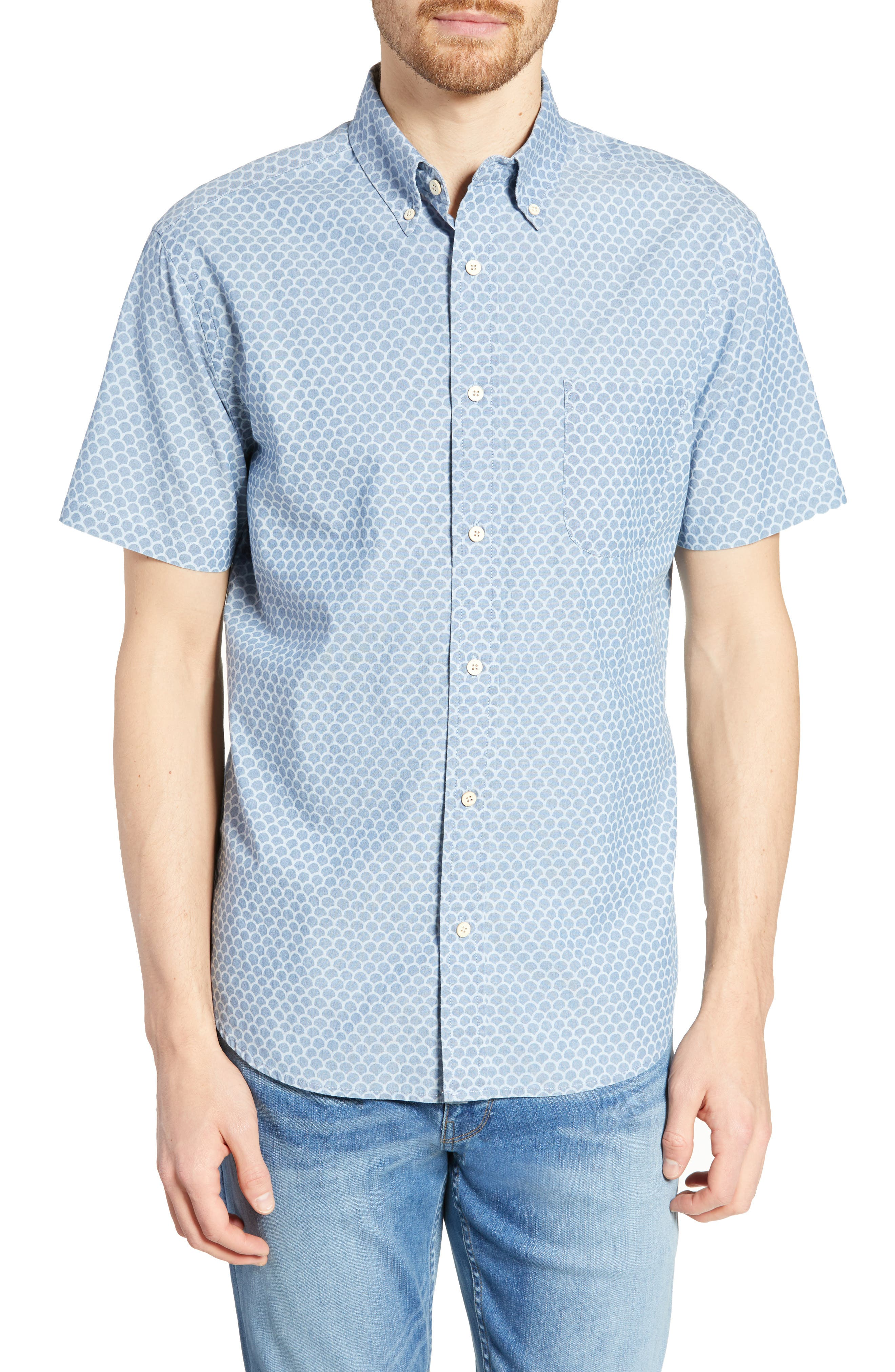 Faherty Pacific Regular Fit Fishscale Print Cotton Sport Shirt, Blue