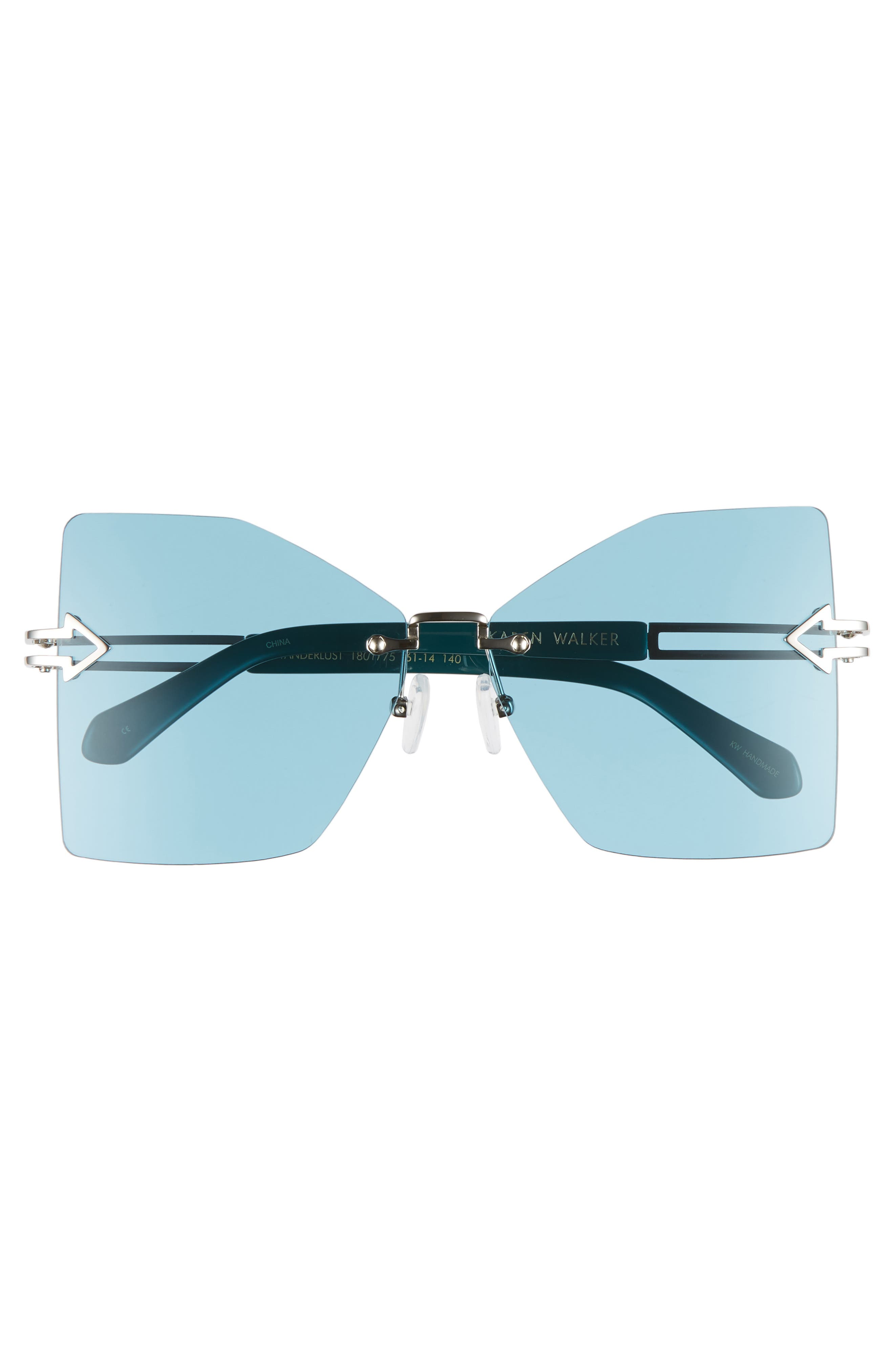 Wanderlust 61mm Butterfly Sunglasses,                             Alternate thumbnail 3, color,                             SHINY SILVER/ EMERALD